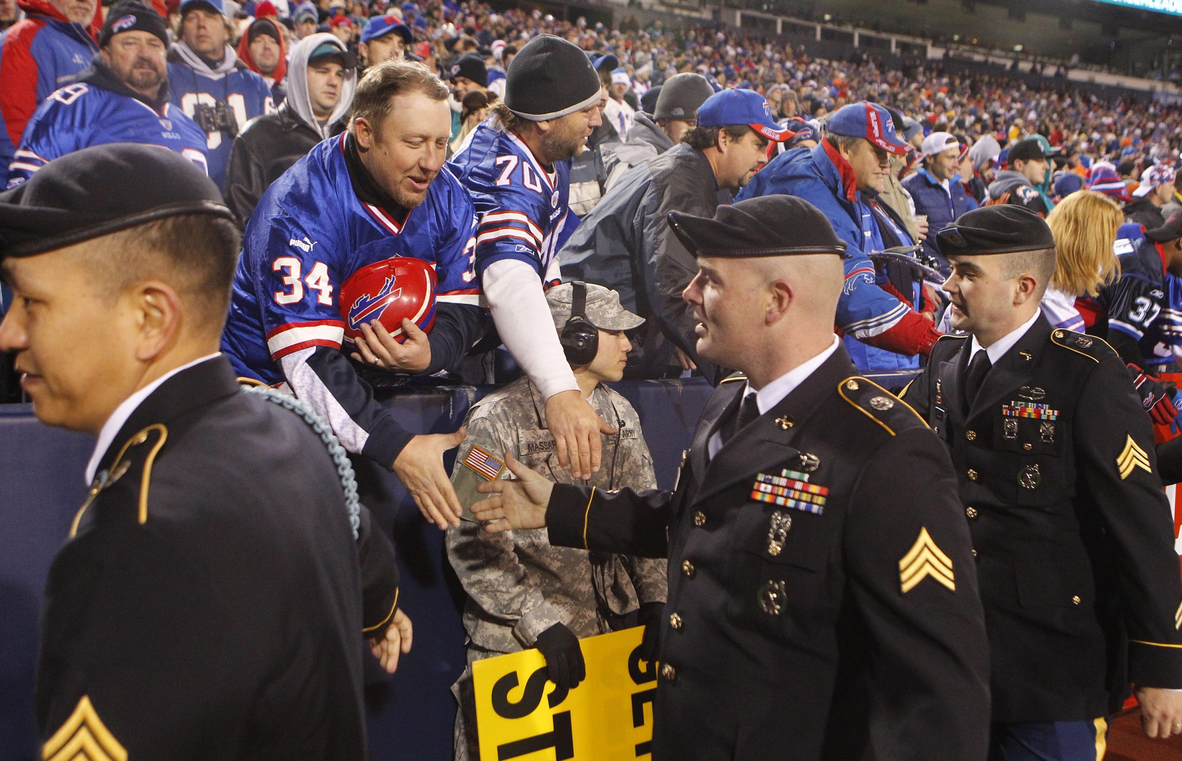 Over the last four seasons, tributes paid to service members at Ralph Wilson Stadium have netted $679,000 for the Bills.