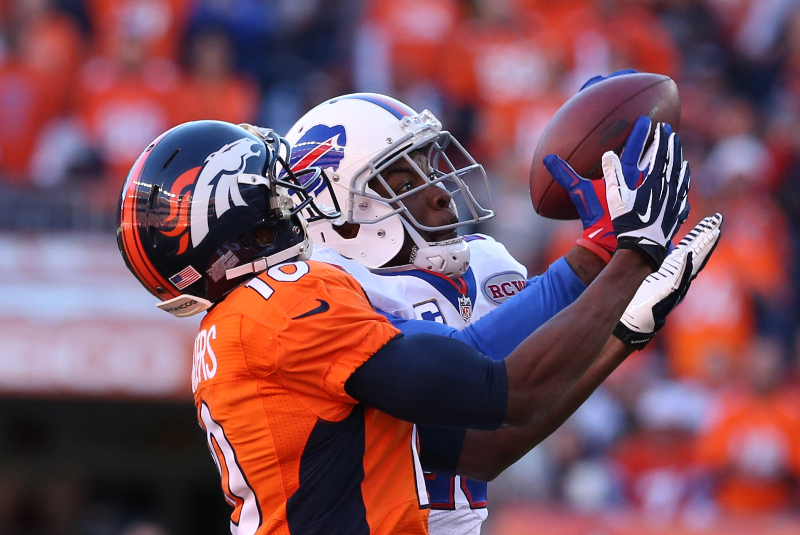 Bills cornerback Corey Graham, here intercepting a pass in front of Denver wide receiver Emmanuel Sanders last season, will move to safety for the remaining OTAs, training camp and the preseason as Bills coaches seek to put the best players on the field.