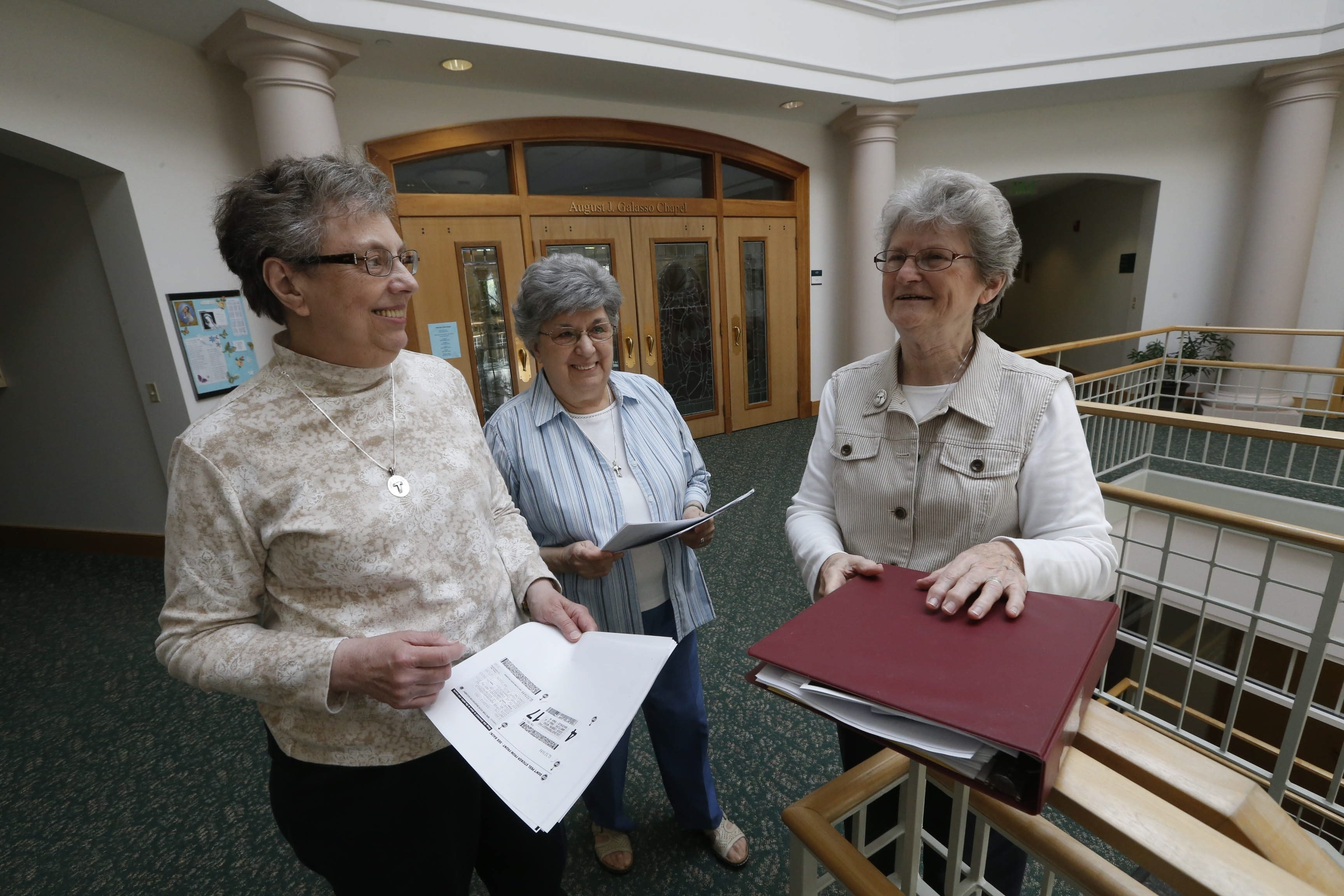 Sister Marian Rose Mansius, right, is coordinator of Life's Services at St. Mary of the Angels regional house on Reist Street. She and the rest of her committee are studying the long-term needs of the Franciscan community.