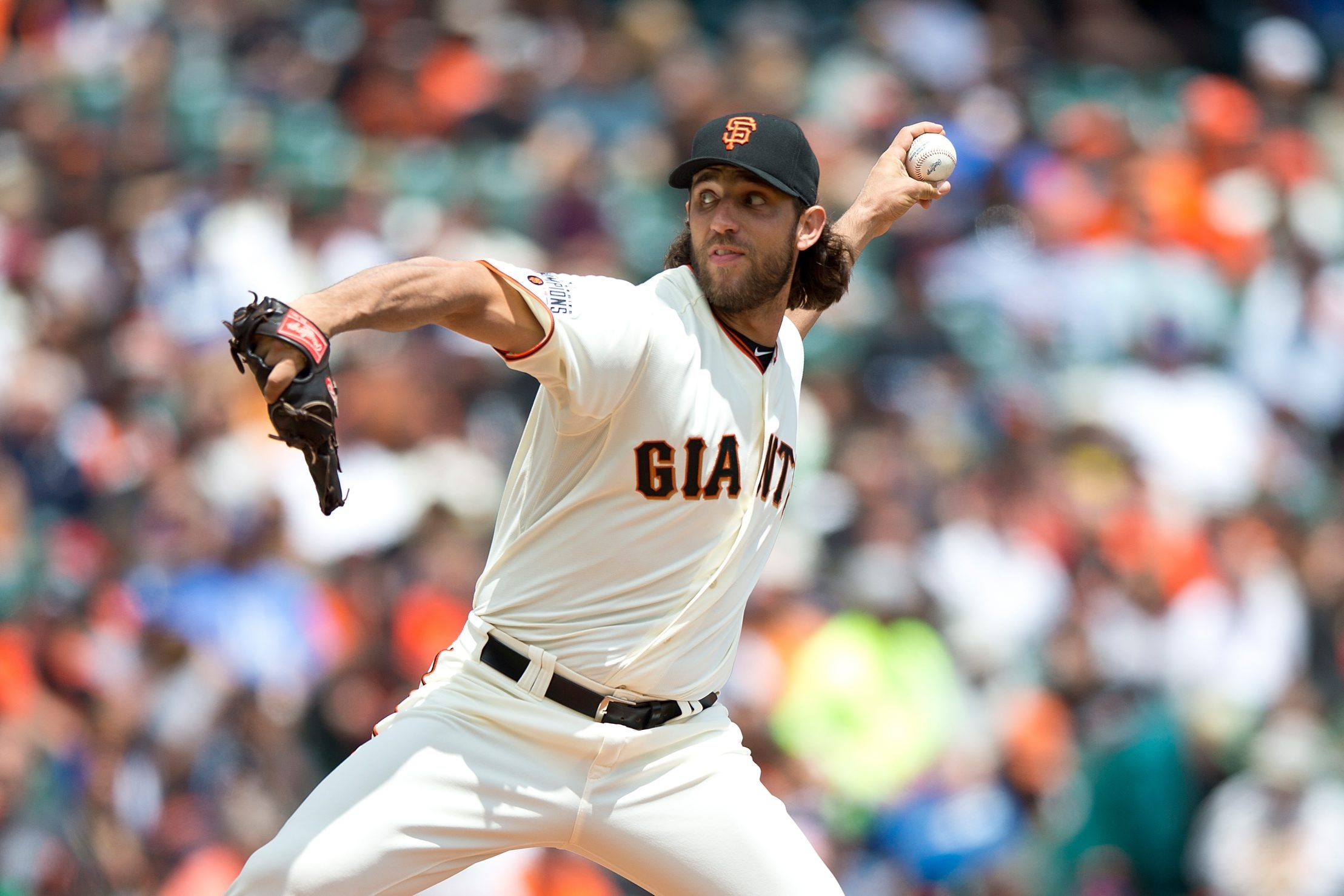 Madison Bumgarner of the Giants has followed his World Series heroics from last year with some excellent pitching for San Francisco this season.