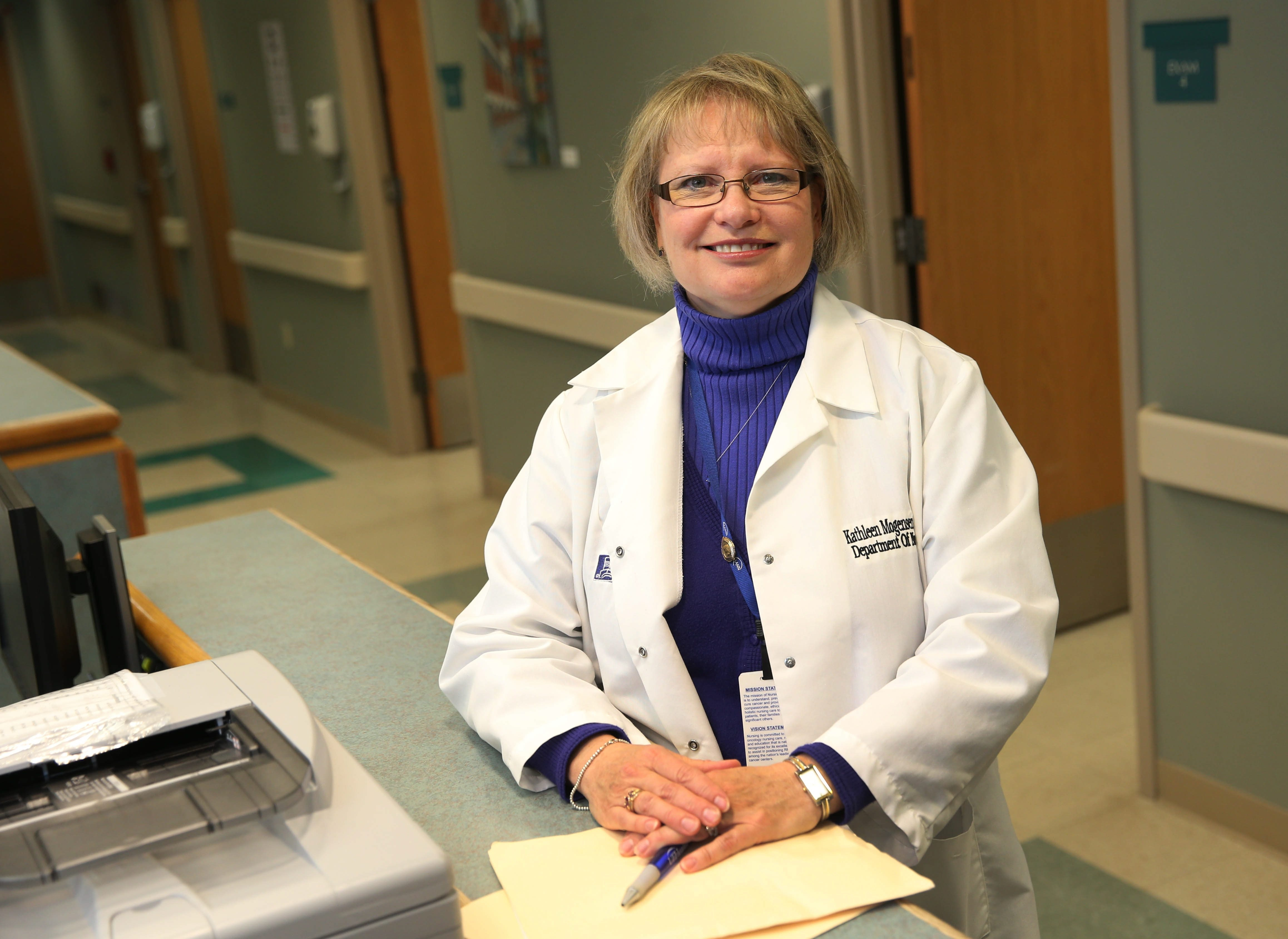 """I think I can make a difference with oncology patients. I like the continuing research in this continually evolving field."" – Kathleen Mogensen, neuro-oncology nurse practitioner at Roswell Park Cancer Institute"