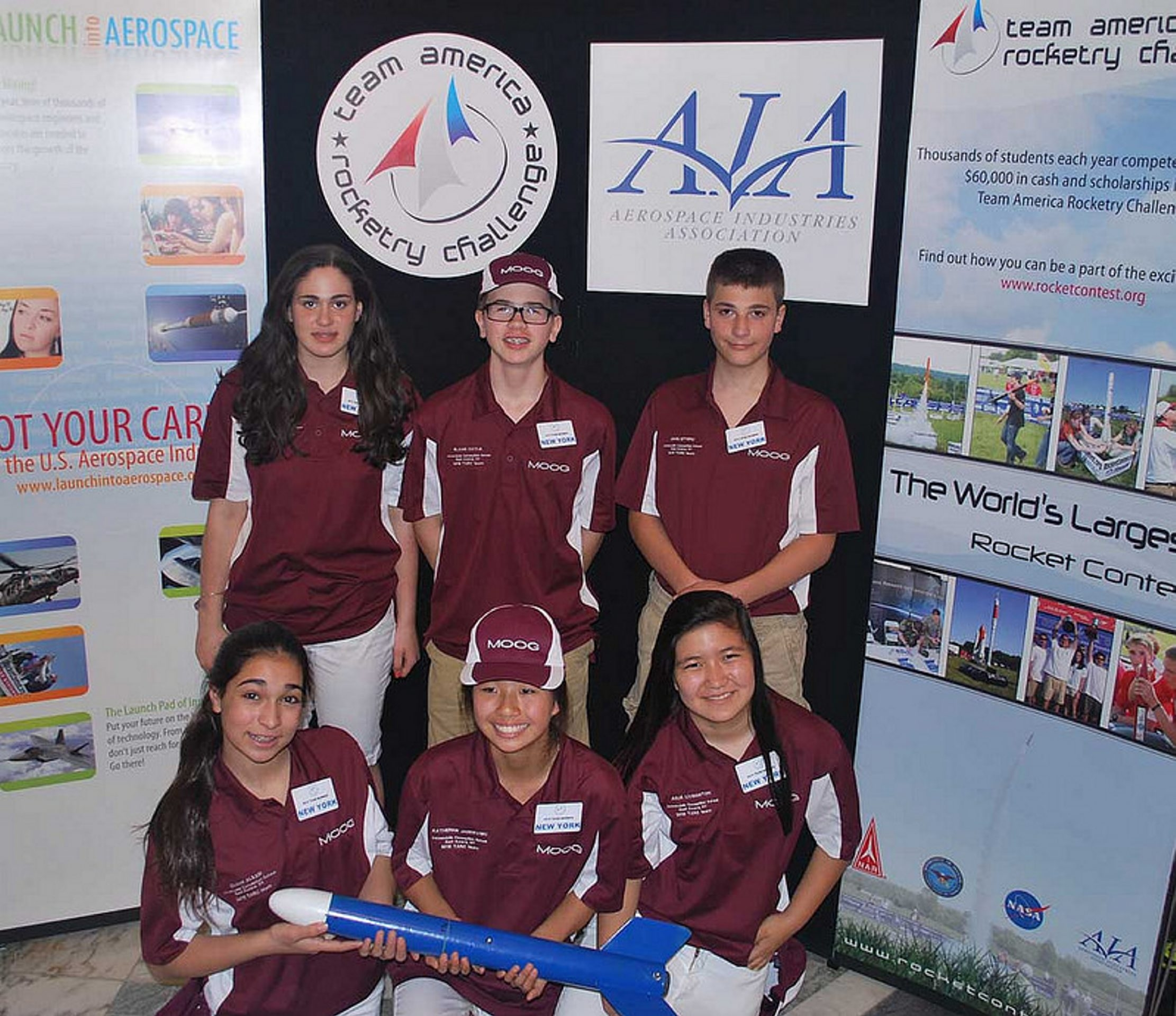 One of two teams from Immaculate Conception School in East Aurora made it to the second round of the Team America Rocketry Challenge. Top row, from left, Caroline Zanghi, Blaise Doyle and John Ettipio. Bottom row,  Olivia Alessi, Katherine Jancevski and Julia Livingston.
