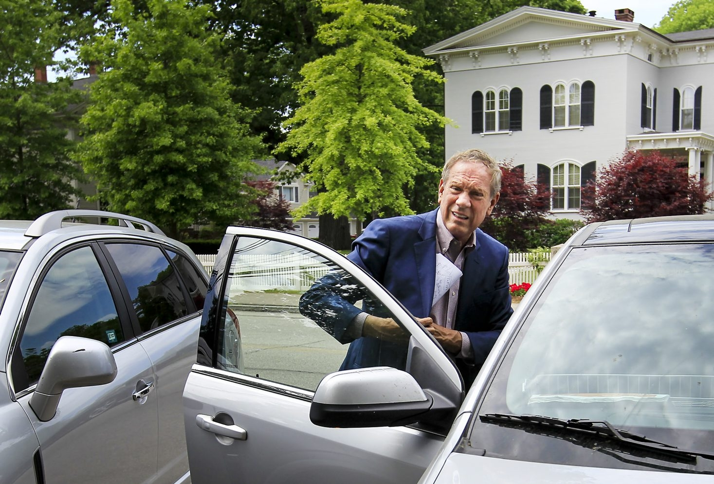 Former New York Gov. George Pataki arrives at the Exeter Inn.  Pataki will be announcing his presidential bid Thursday at the old Exeter town hall. (Cheryl Senter/Special to The News)