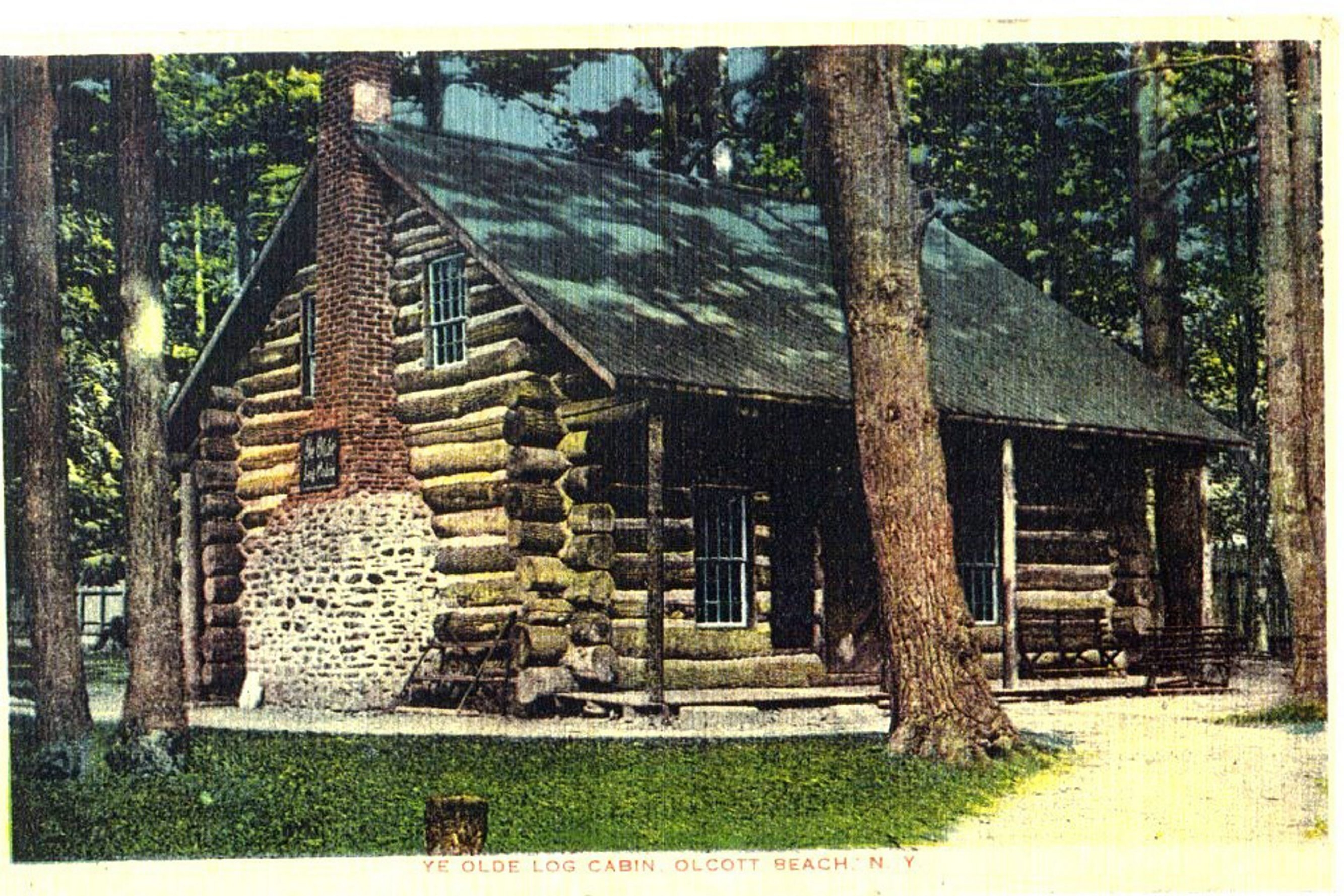The original log cabin that once stood in Krull Park was built by the Niagara County Pioneers Association in 1887-88.