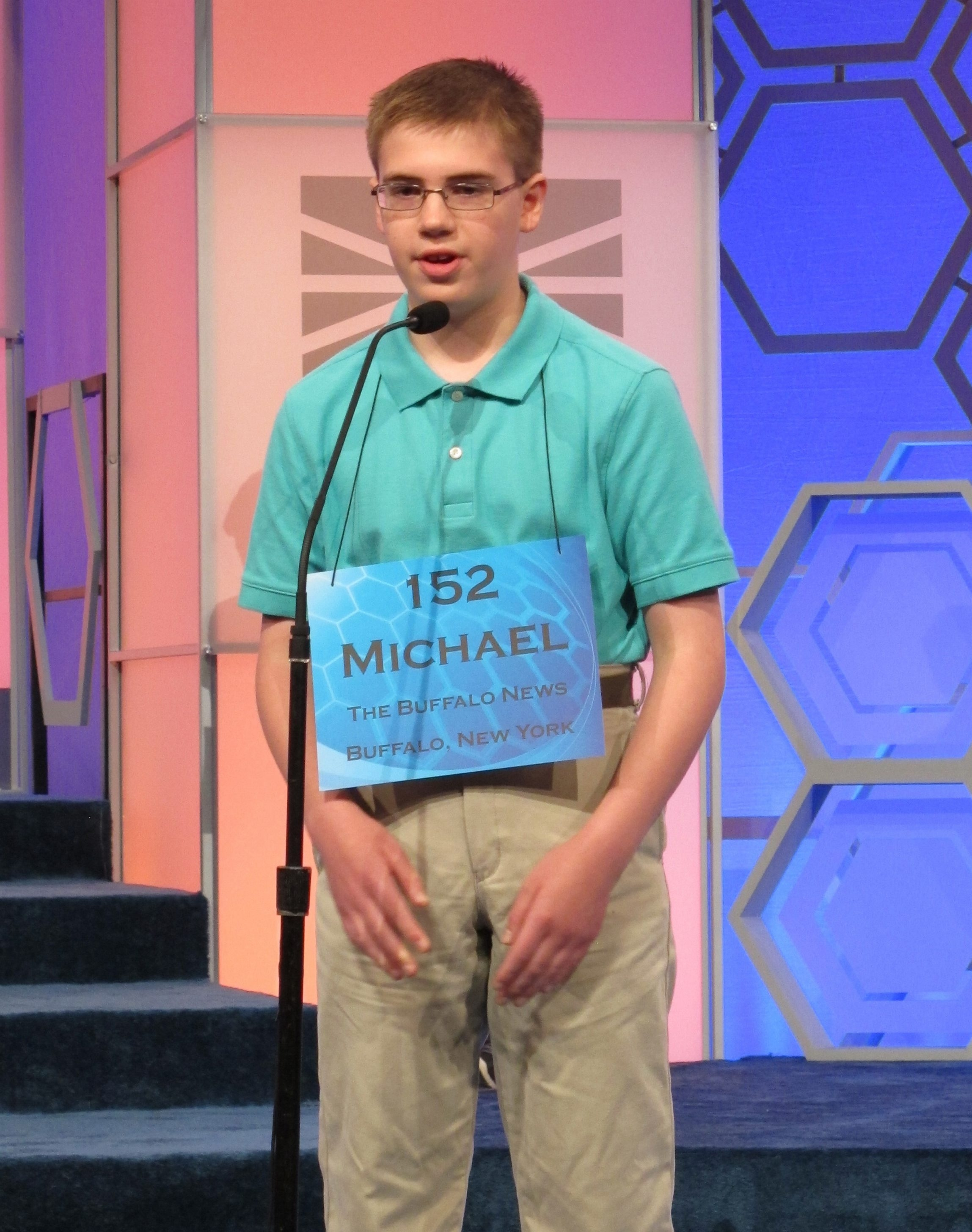 """Michael Sobol, of Amherst, a seventh-grader at SS. Peter & Paul School in Williamsville, correctly spells """"magnolia"""" in second round of Scripps National Spelling Bee in National Harbor, Md."""
