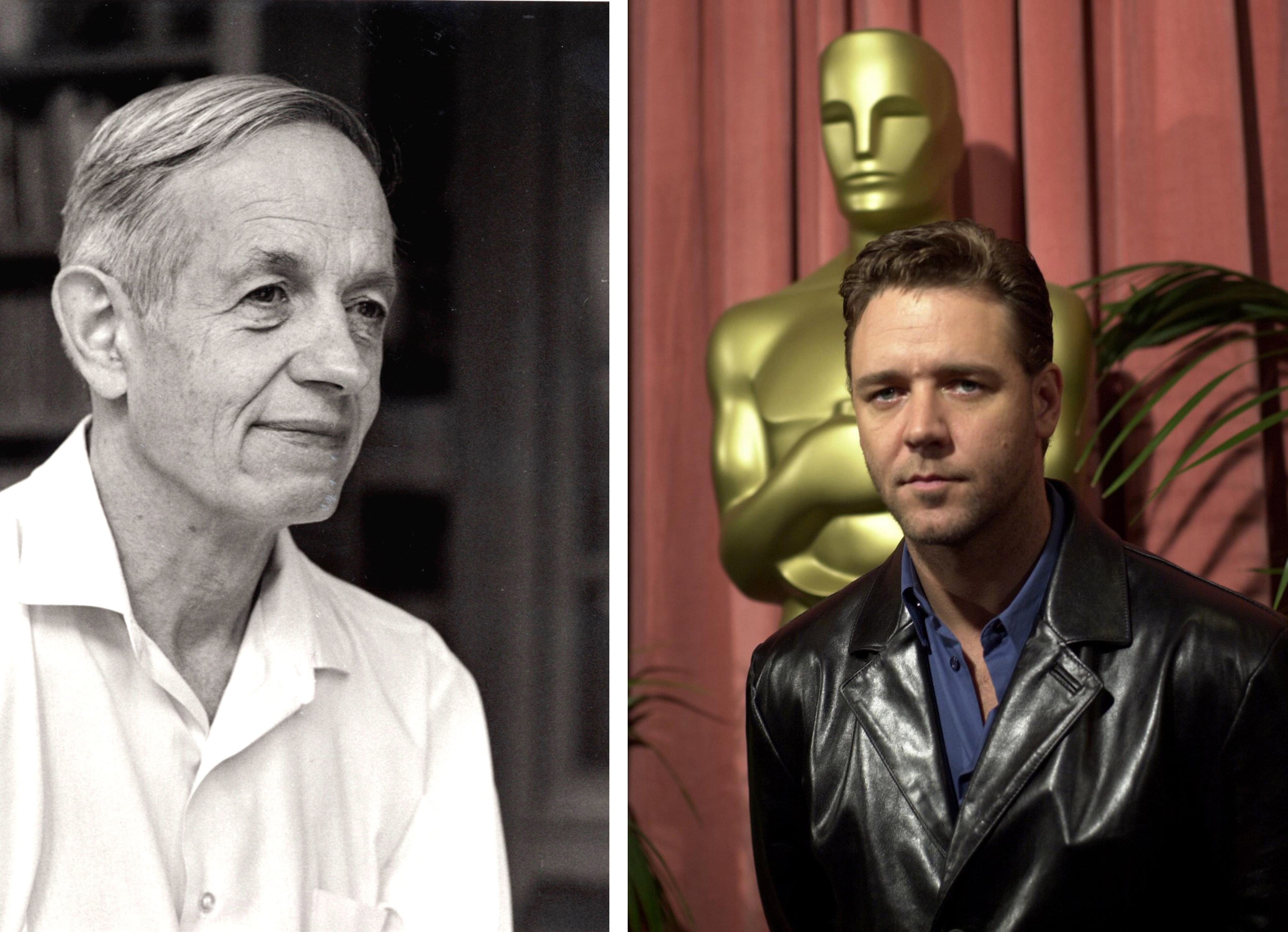 "Mathematician John Nash, left, was the inspiration for the movie ""A Beautiful Mind,"" in which Russell Crowe, right, portrayed Nash."