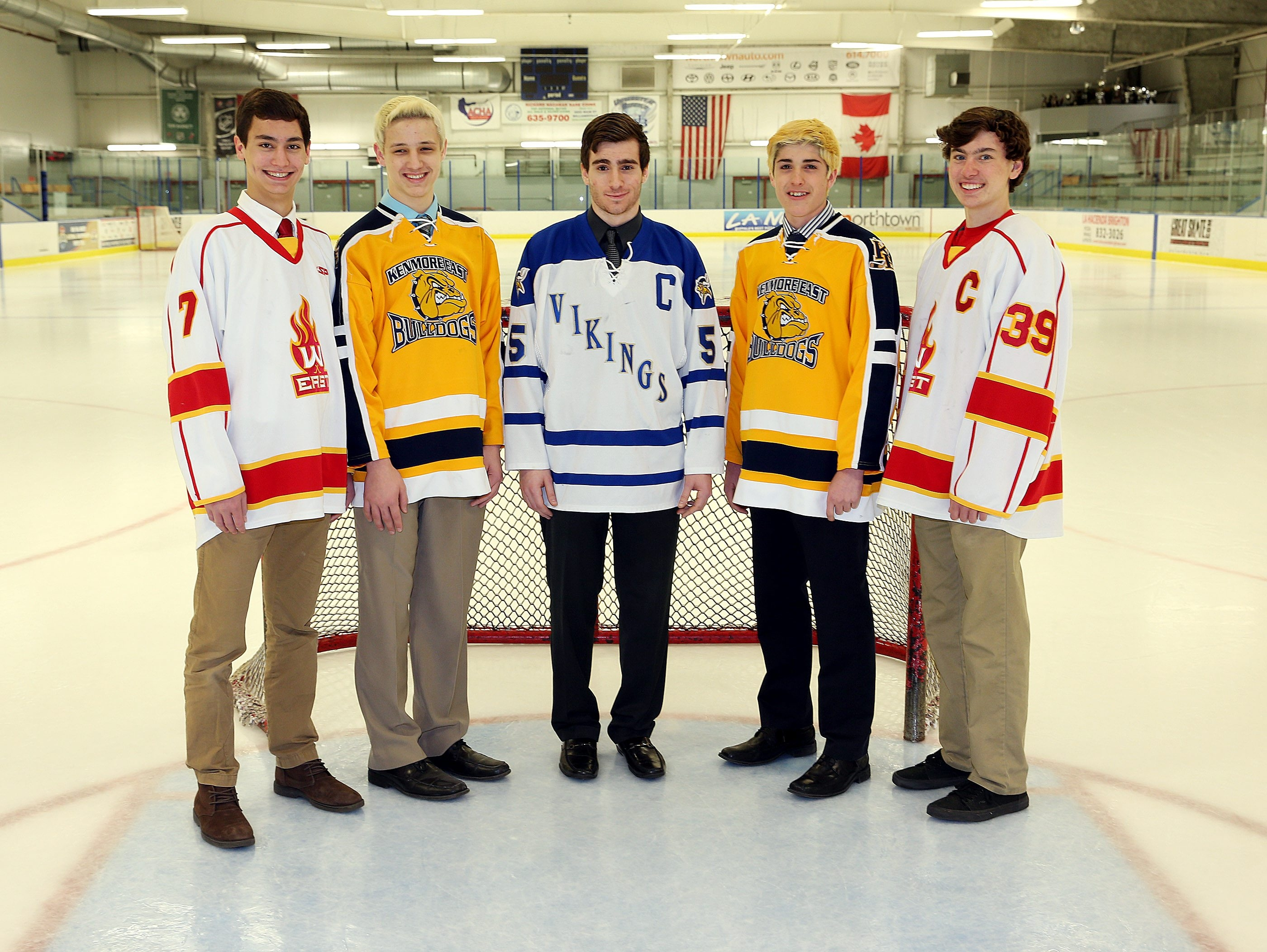 The All-Federation Small Schools team (left to right):  Mike Steffan, Williamsville East;  AJ Marinelli, Kenmore East; Mark McKenna, Grand Island; Joey Spataro, Kenmore East; Max Battistoni, Williamsville East. Not pictured: Tyler Scull, Hamburg.