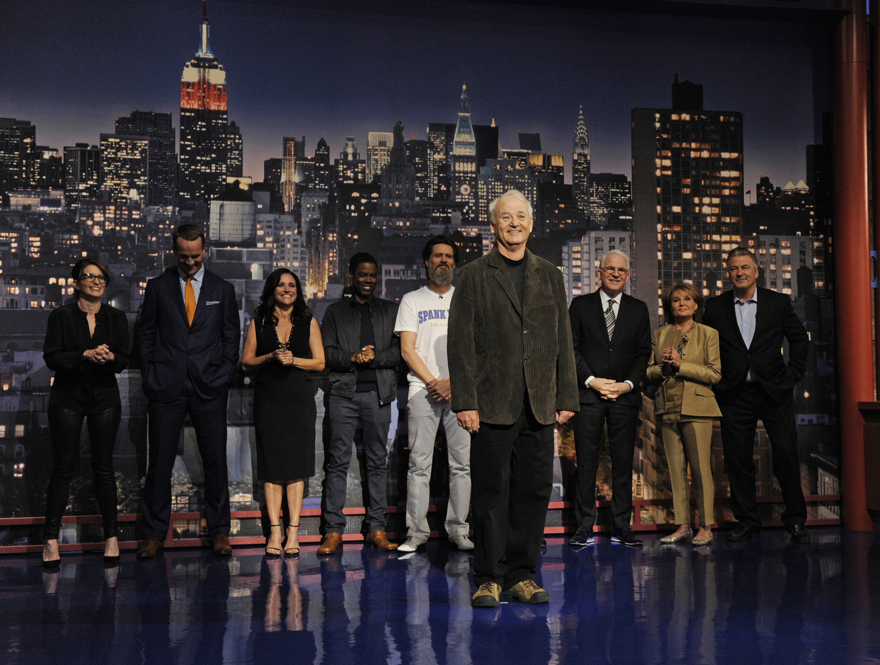 """Bill Murray, along with other celebrities, helps present the Top 10 List on the final broadcast of  """"Late Show with David Letterman"""" on Wednesday at the Ed Sullivan Theater in New York."""