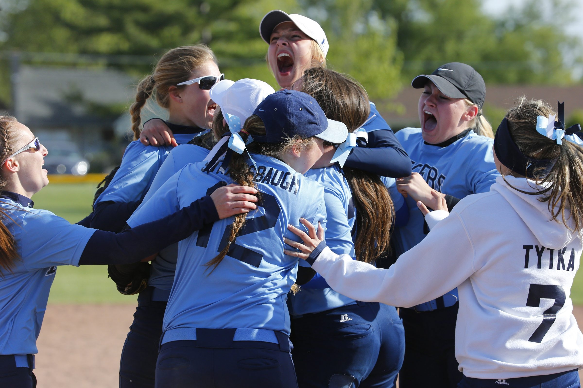 St. Mary's players celebrate their 7-6 victory over Nichols in the Monsignor Martin Association championship game.