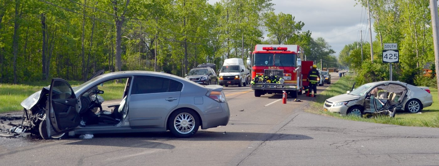 The scene of the Wednesday morning collision in Wilson. (Larry Kensinger/Special to The News)
