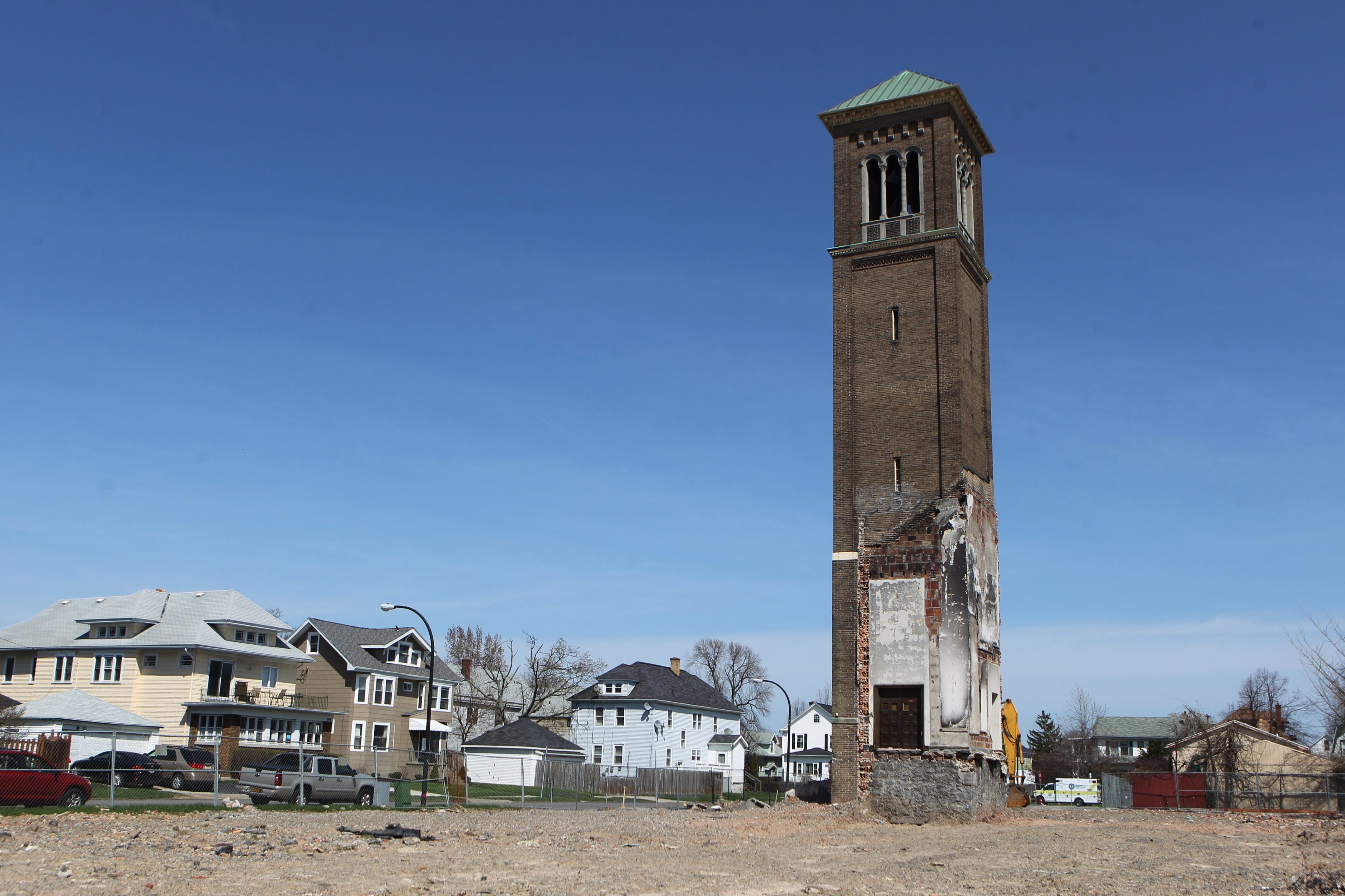 The tower is all that remains of the Korean-American Church that was torn down after a fire on Colvin Avenue at Tacoma Avenue in Buffalo.  (Sharon Cantillon/News file photo)