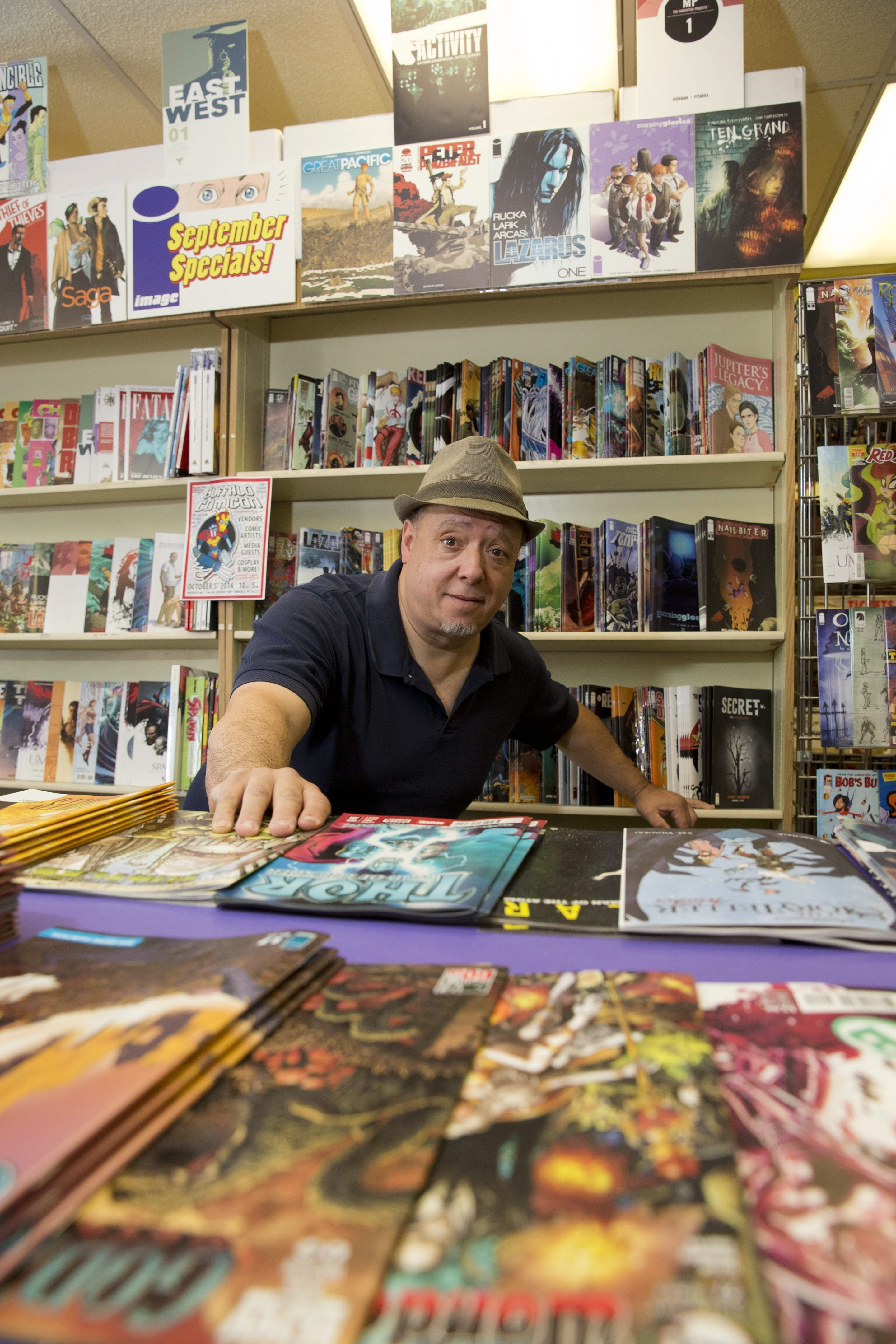 Emil J. Novak Sr. owns Queen City Bookstore, the Main Street store that has been a staple of the Buffalo comic scene for 46 years.