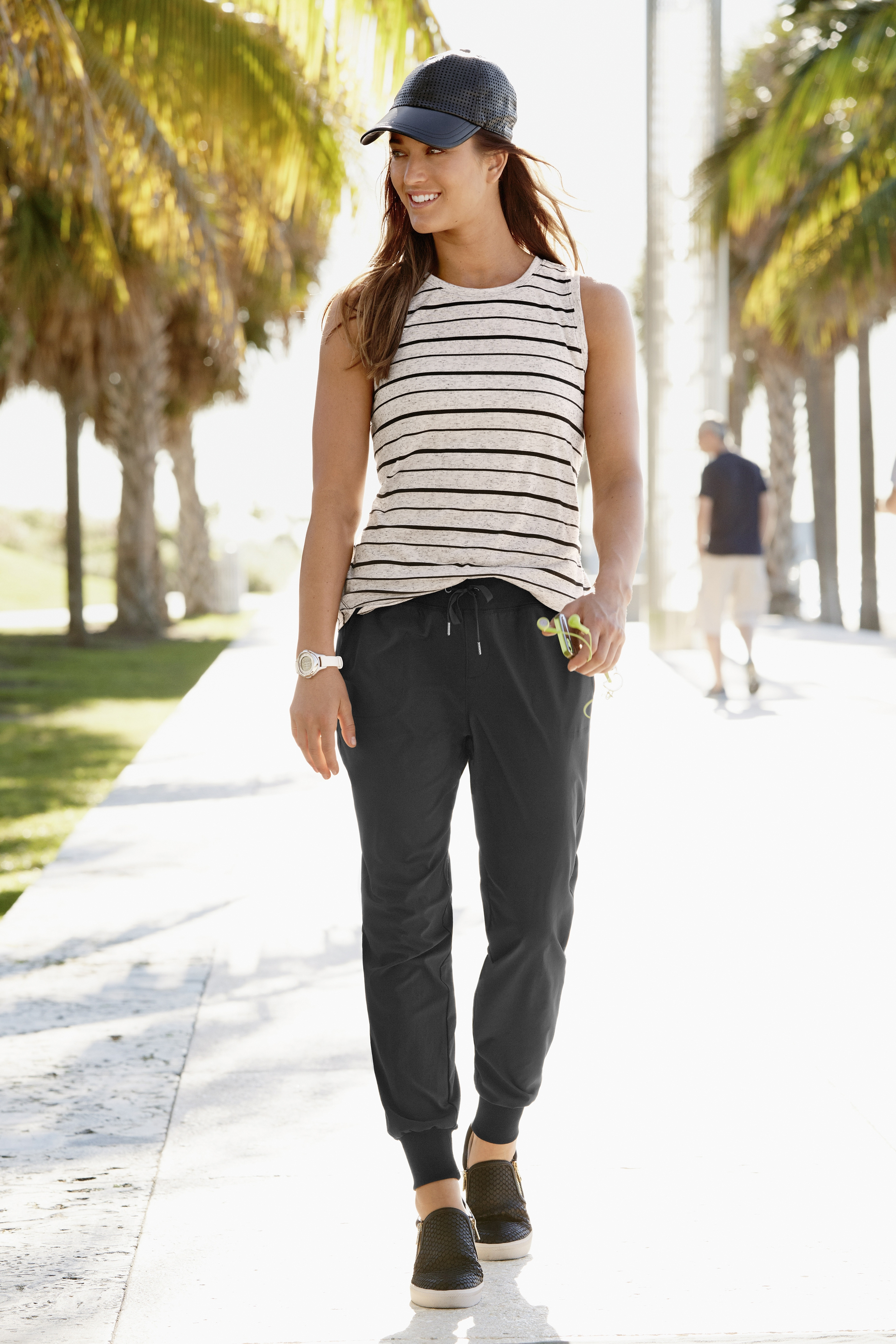 Jogger pants (Athleta) and a swimsuit with some coverage (Lands' End) are current trends, according to Google's research.