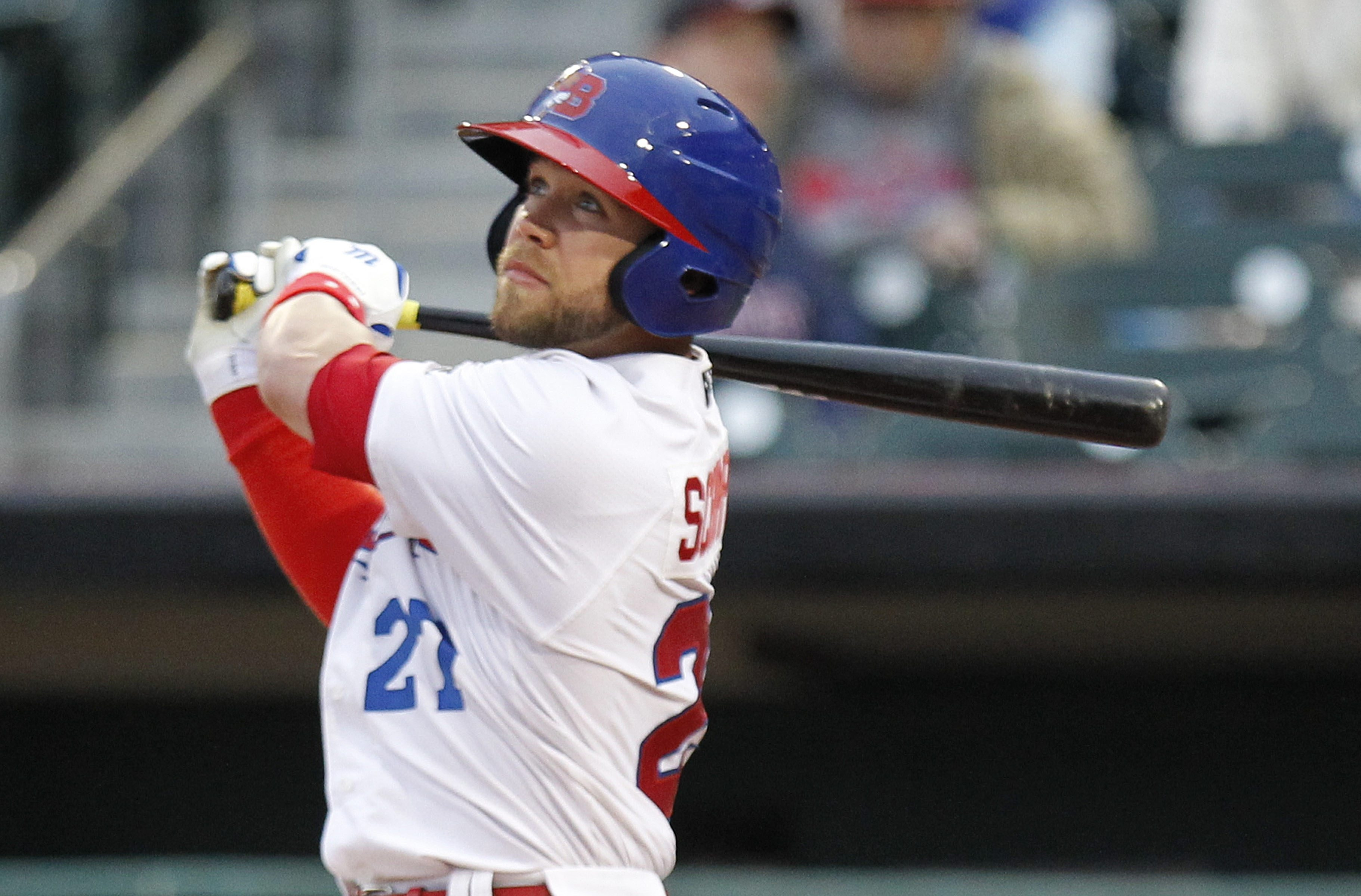 2 lie ncut Buffalo Bisons Ryan Schimpf hits a solo homerun against the Toledo Mud Hens at Coca-Cola Field on Friday, May 15, 2015.()