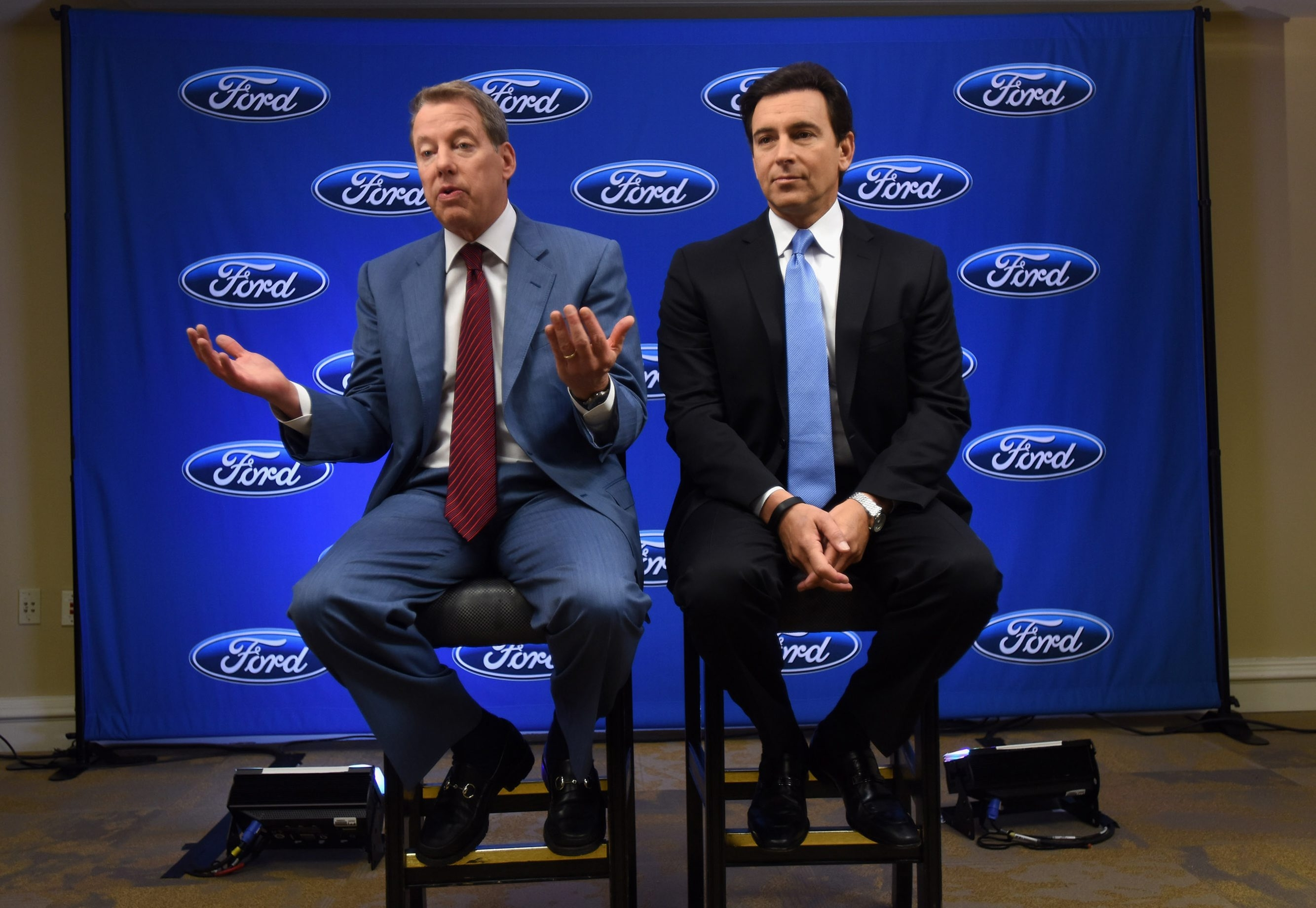 Ford Motor Co. Executive Chairman Bill Ford addresses shareholders, joined by President and CEO Mark Fields.
