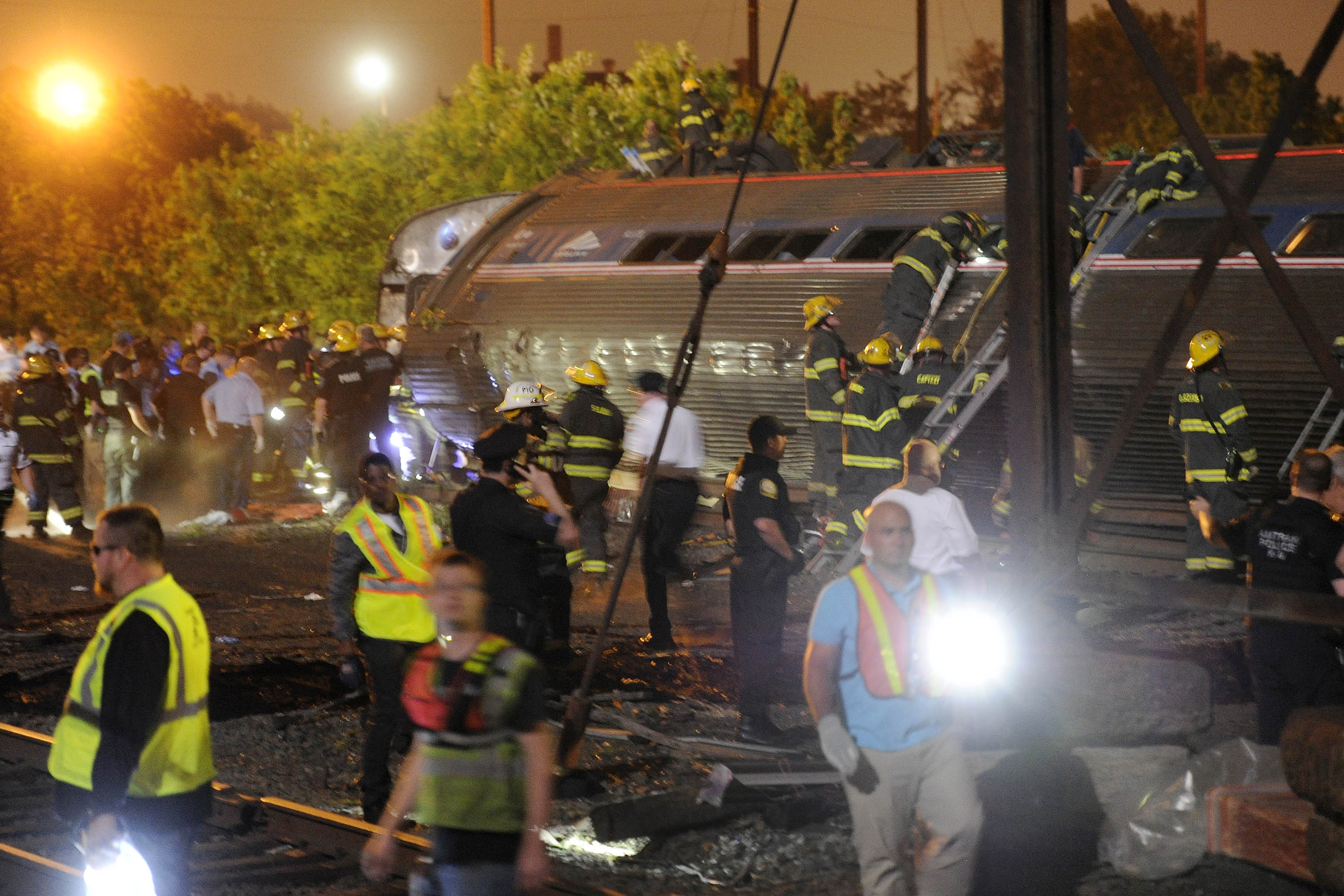 Six people were killed and scores more injured in the Amtrak crash of a northbound train in Port Richmond on Tuesday, May 12, 2015, in Philadelphia. (Tom Gralish/Philadelphia Inquirer/TNS)