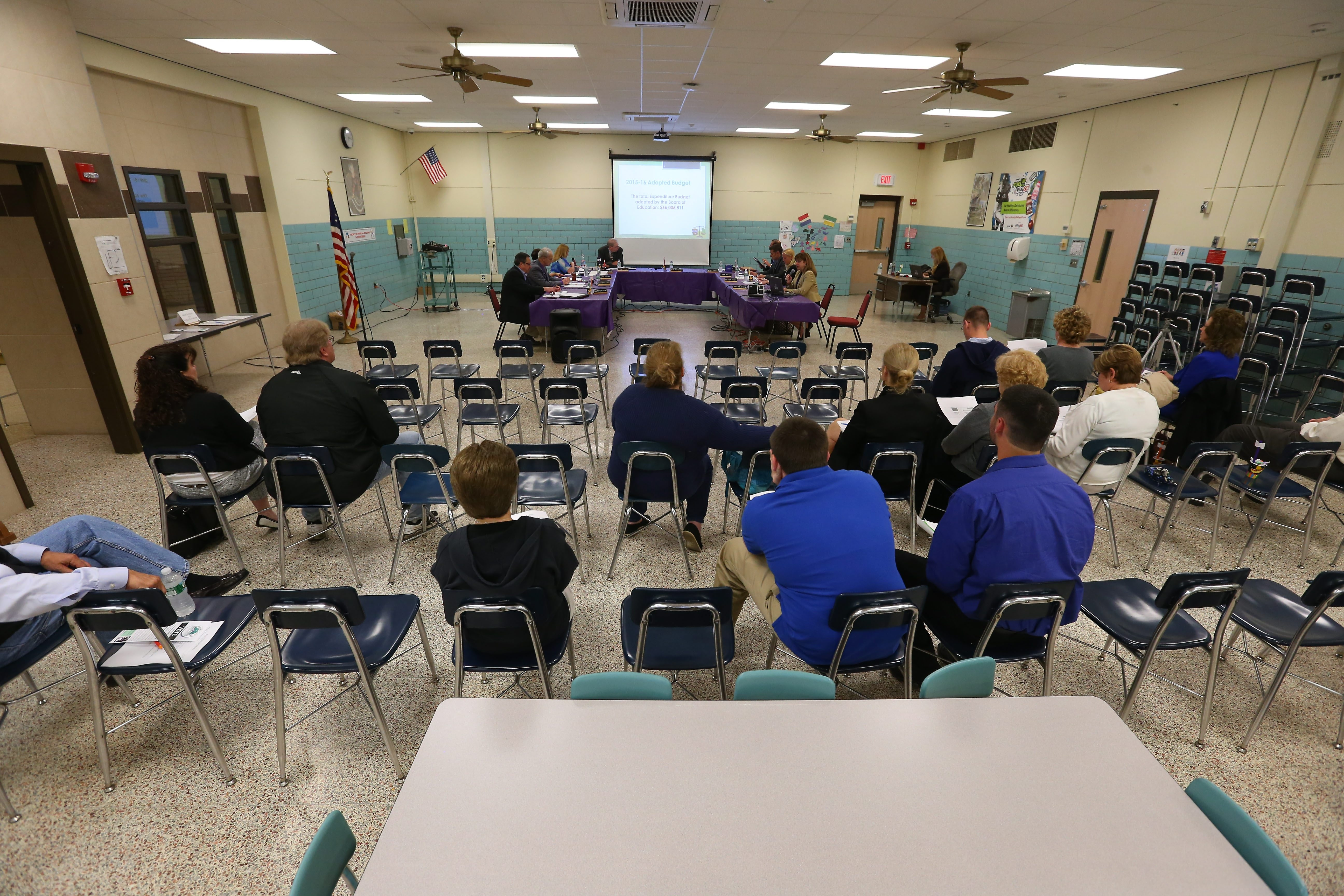 Only a sparse crowd turned out for a Hamburg School Board meeting earlier this month at Armor Elementary School.