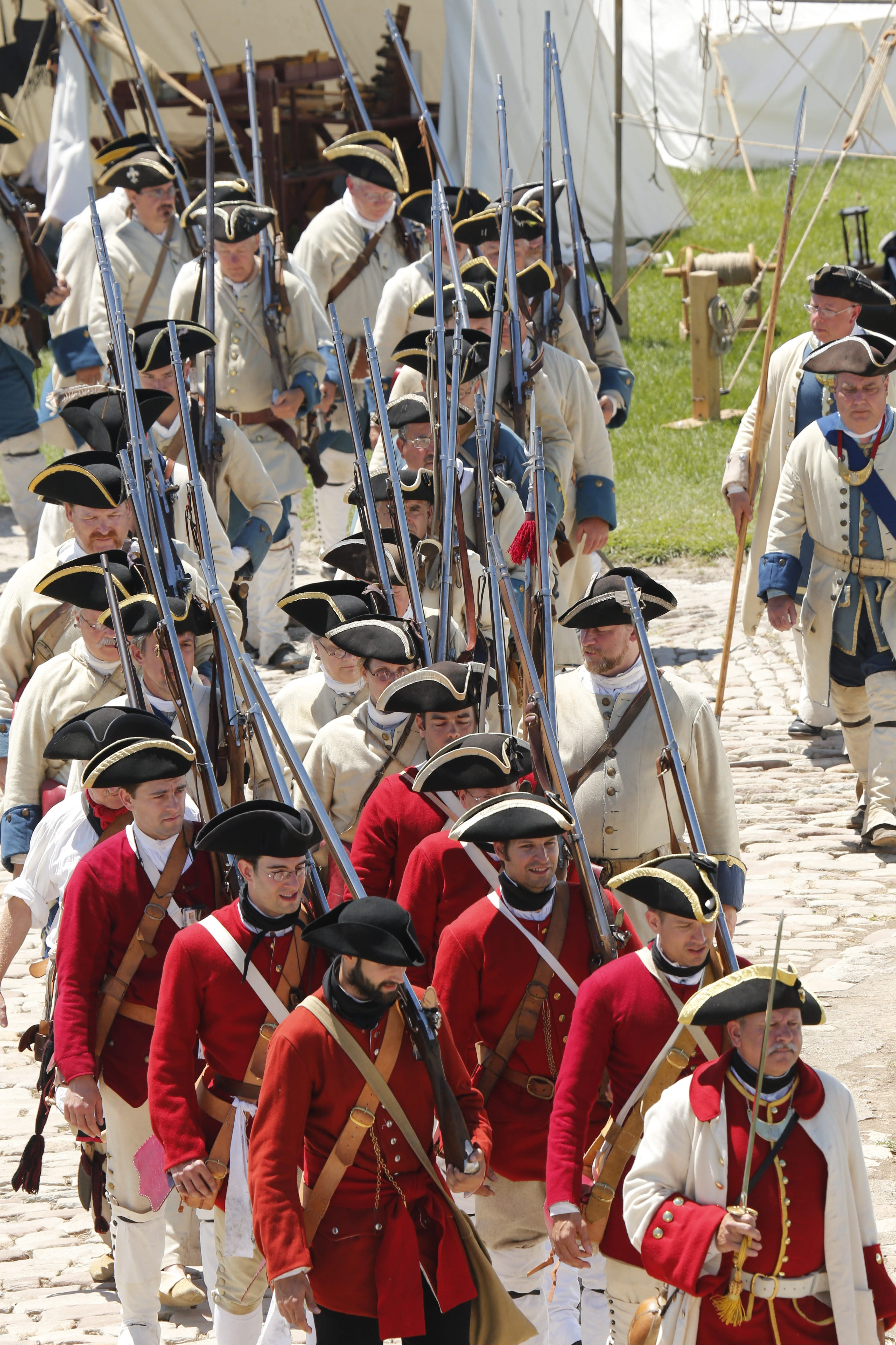 Re-enactors in period uniforms will parade across the fort's lawn and present their colors in a ceremony.