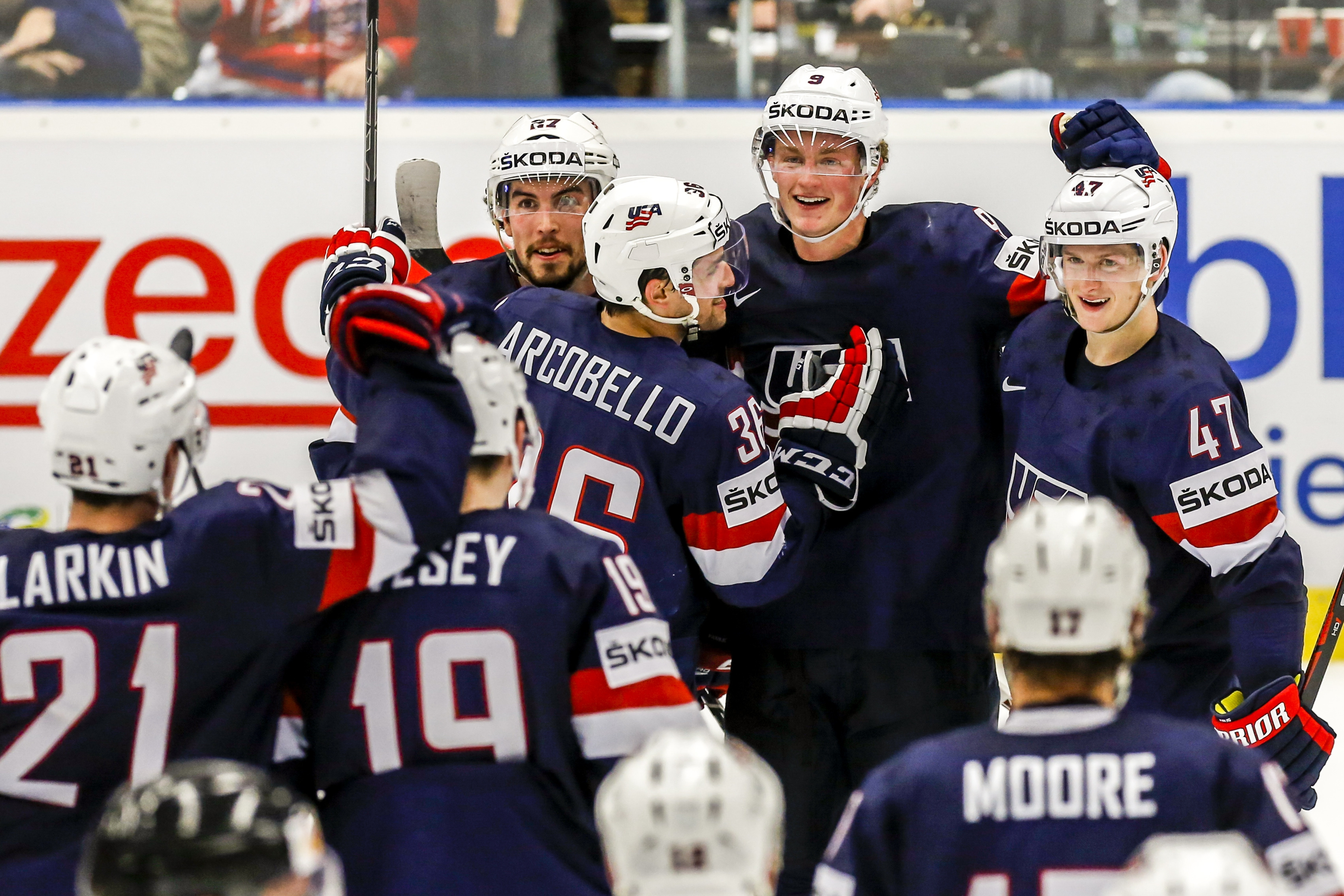 USA players celebrate their overtime win over Slovakia in the IIHF World Championship Group B match on Tuesday.