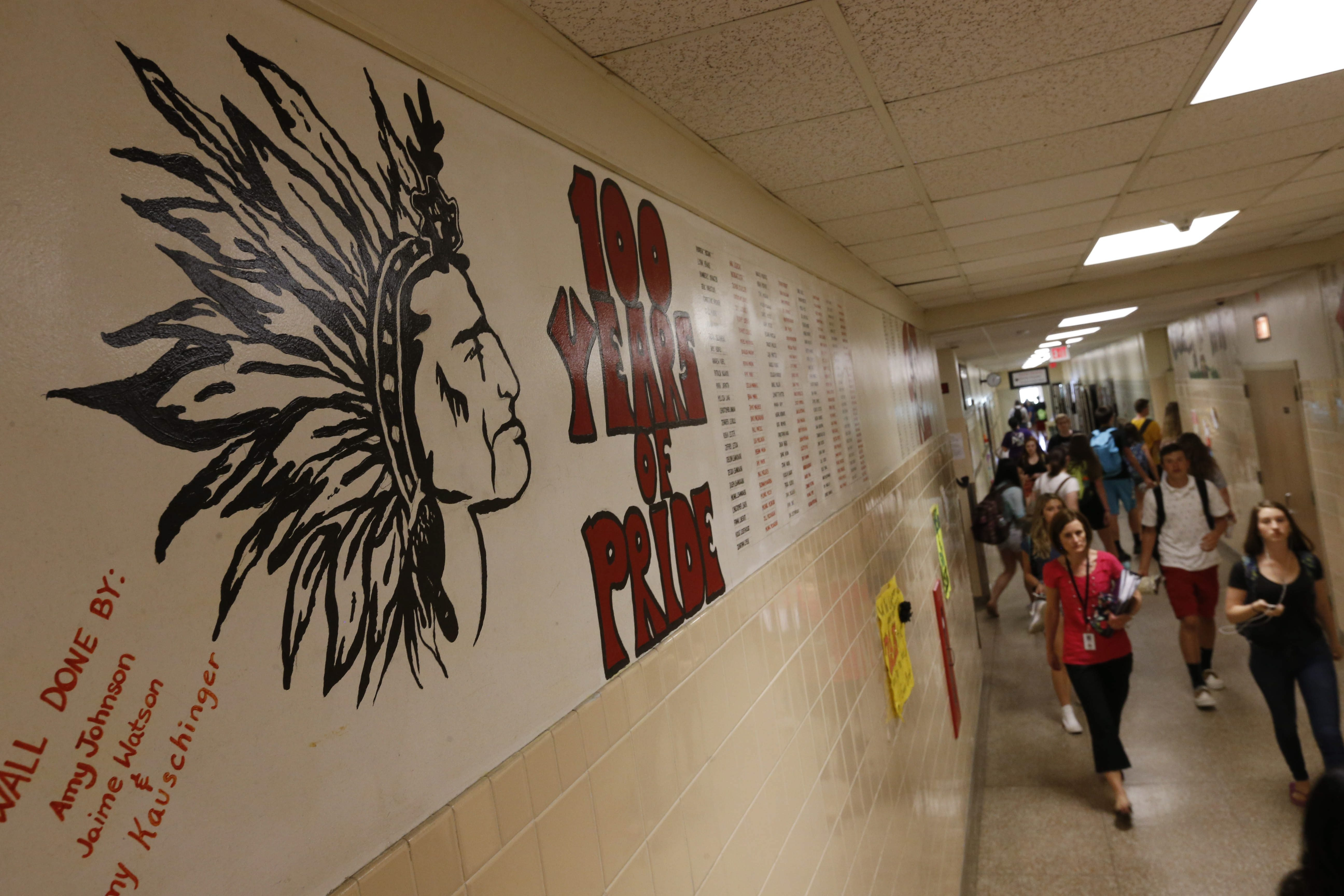 Murals are painted in the Lancaster High School hallway by each year's senior class in a tradition that dates back to 1991. The Redskins mascot and nickname was retired by the School Board in March, prompting a backlash that some say may influence voter turnout.