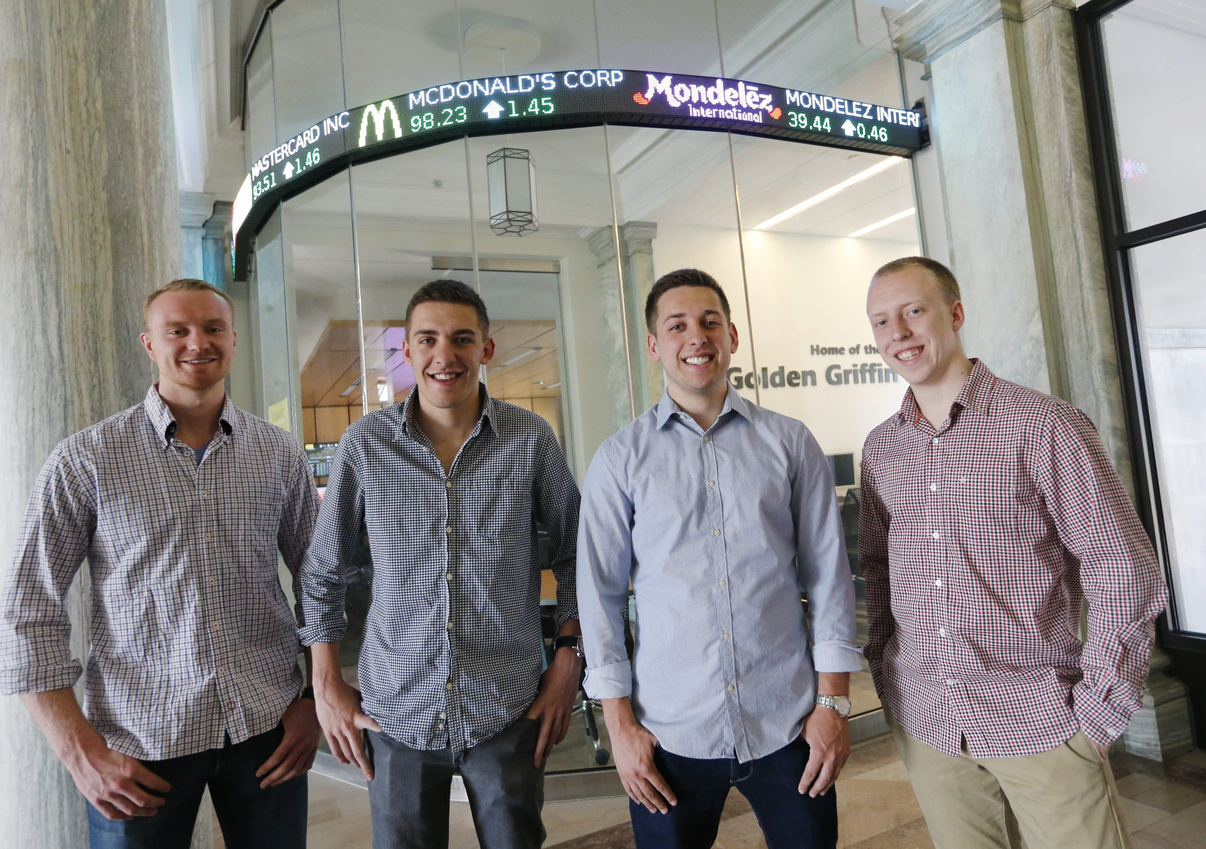 From left, Golden Griffin Fund financial team members Carl Larsson, Ryan Zimmer, Matt Coad, Kevin Monheim and Stephen Miller (not shown) won the CFA Institute Research Challenge Global Championship, emerging first among 4,000 students.