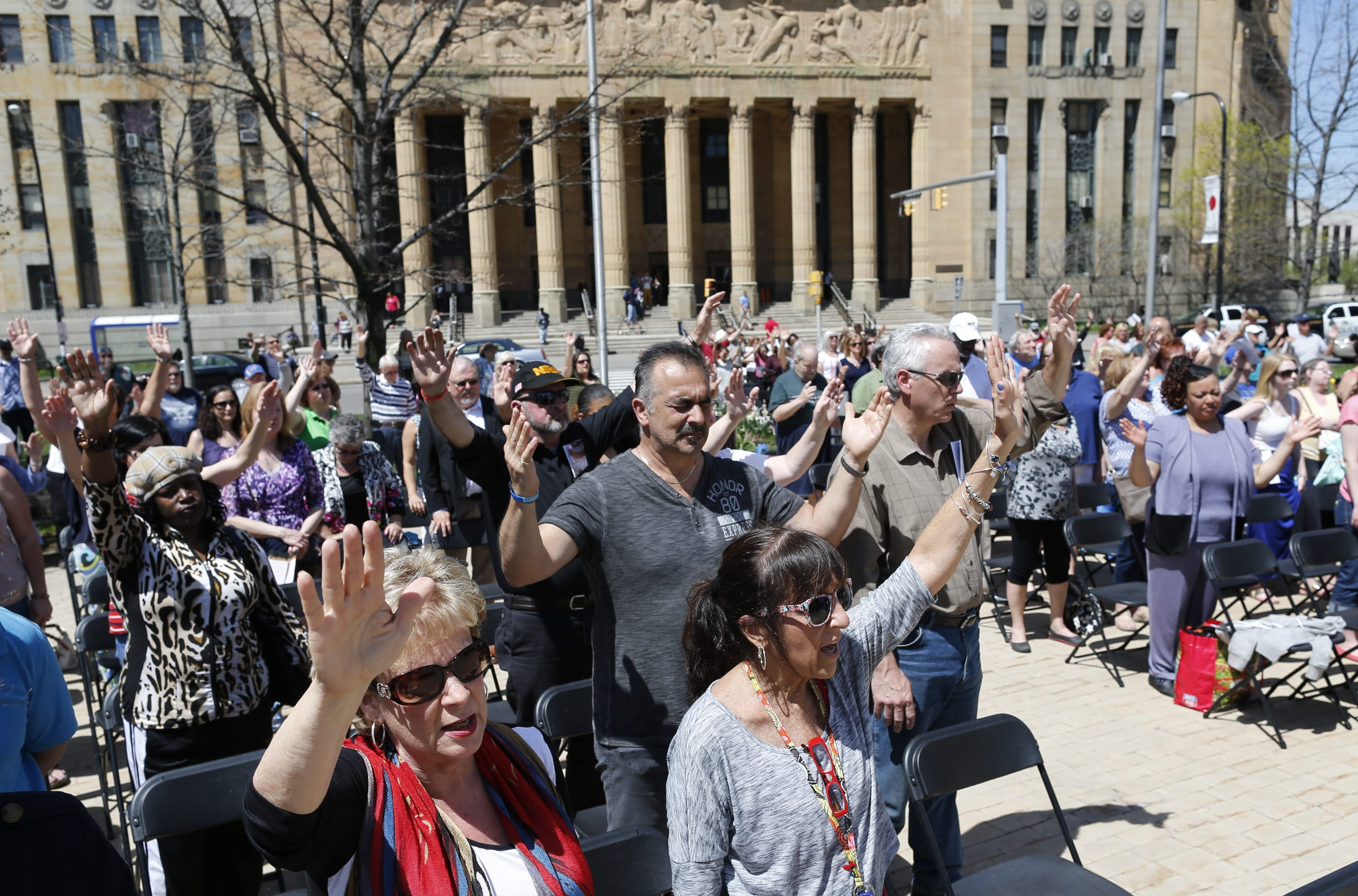 Hundreds of people came to Niagara Square on Thursday to take part in the National Day of Prayer service in Buffalo. In addition to prayer, several speakers offered inspirational messages.