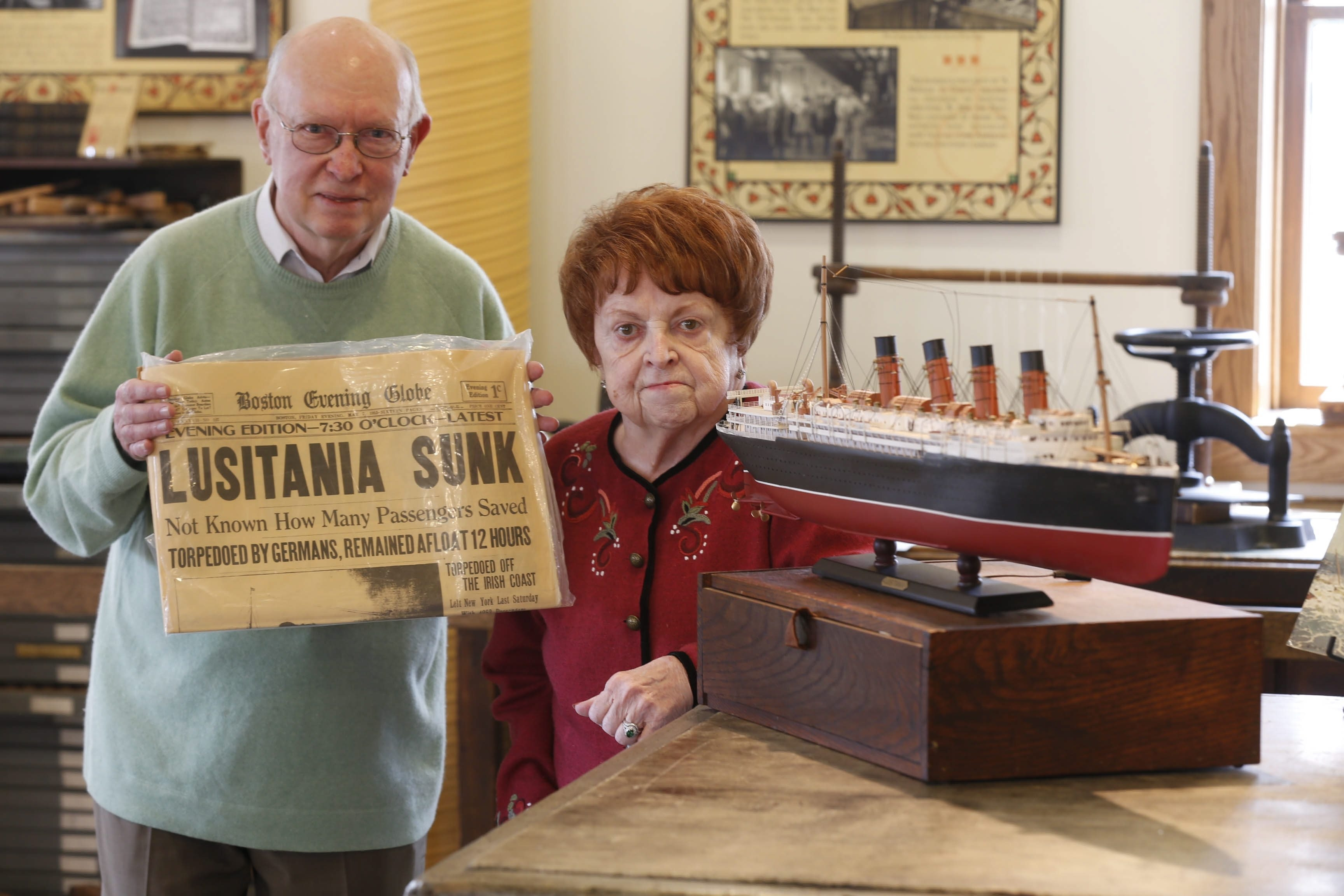 Retired Orchard Park High School history teacher Meryl Trefzer, left, and his wife, Patricia, have donated items now displayed at the Roycroft Visitors Center inside the Power Station.