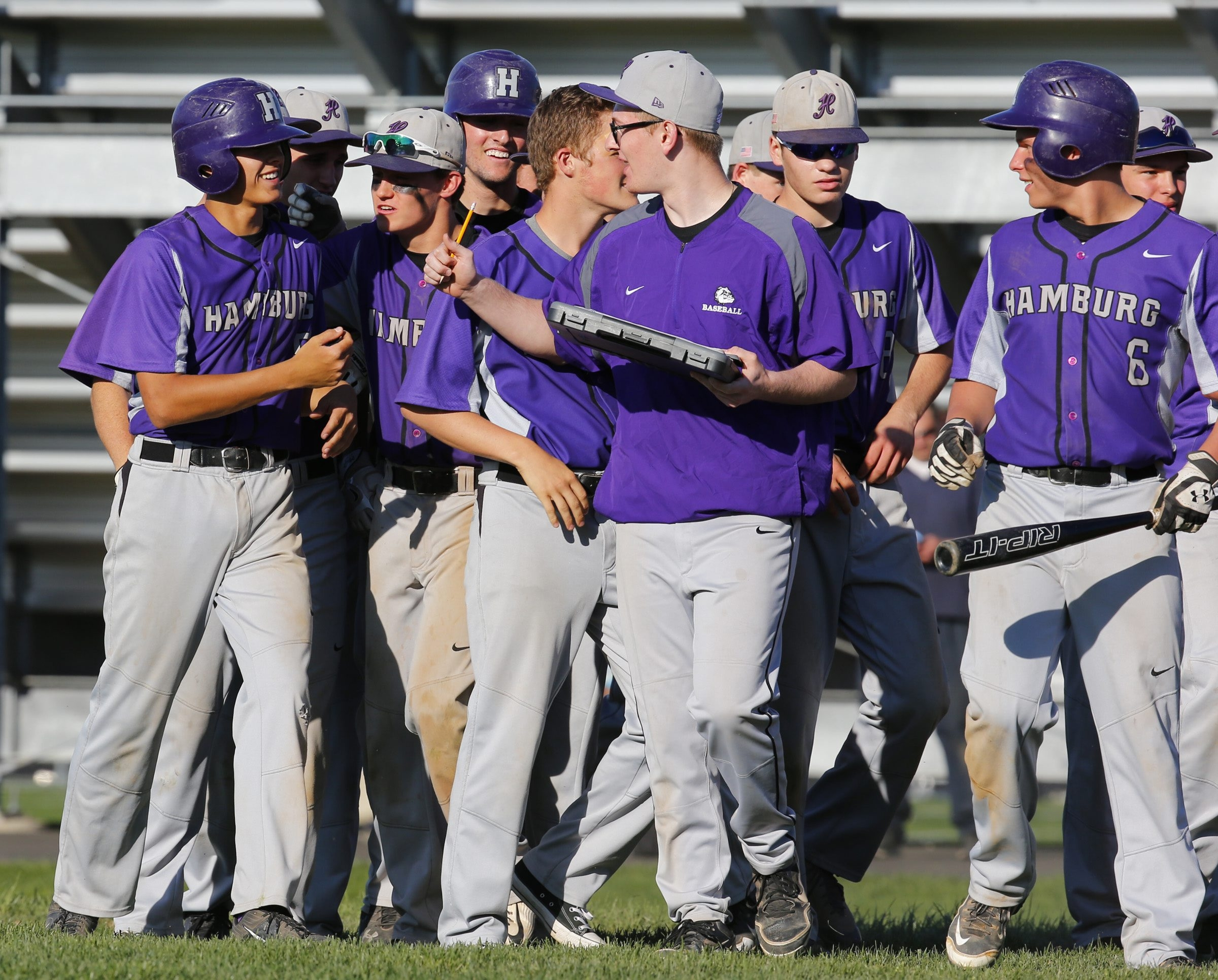 Hamburg's Ryan Dils is congratulated after hitting the game-winning RBI single in the seventh inning against Starpoint at Hamburg High School on Thursday.