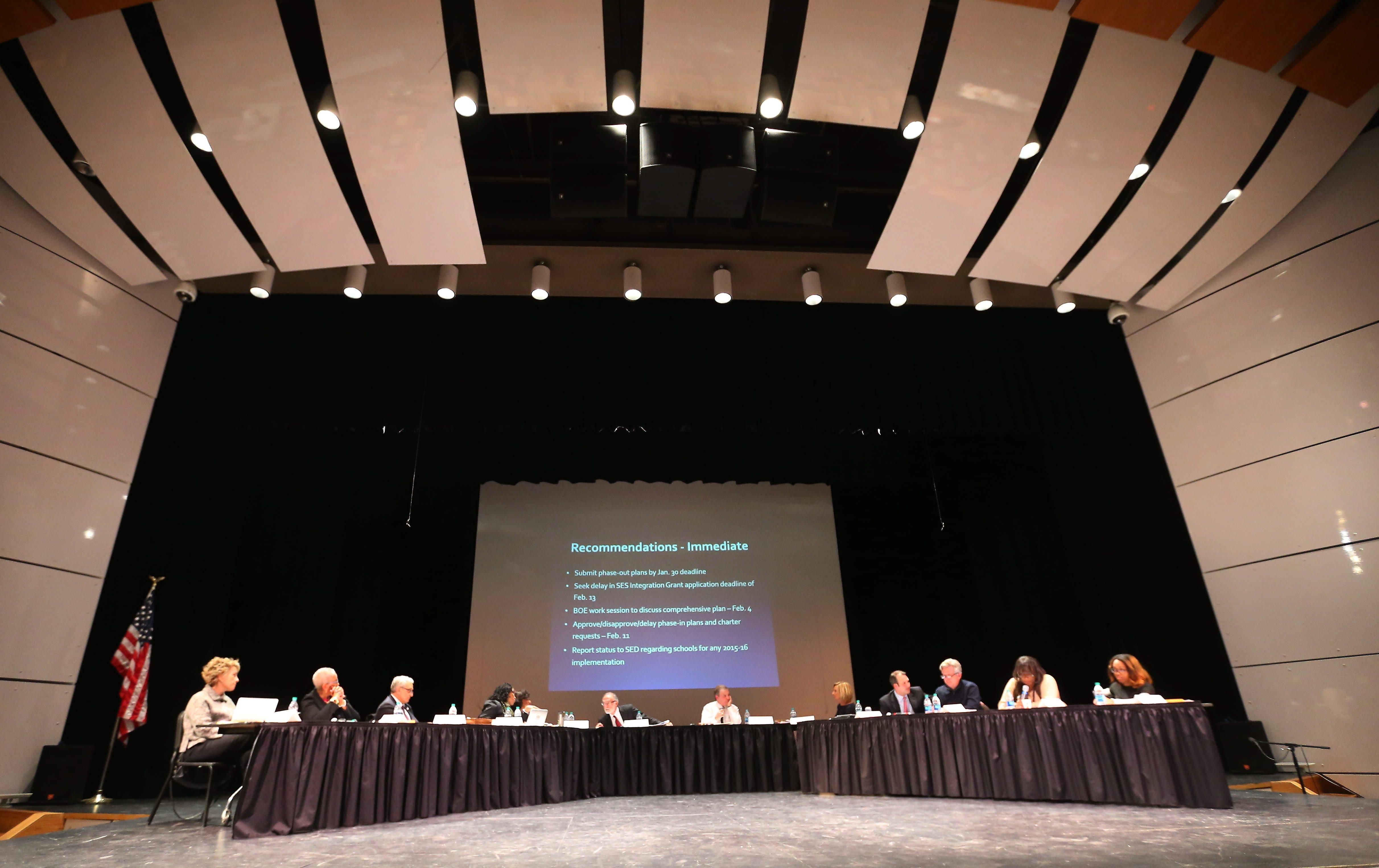 Buffalo School Board members meet at the Buffalo Academy for Visual and Performing Arts in Buffalo on Jan. 28.  (Mark Mulville/News file photo)