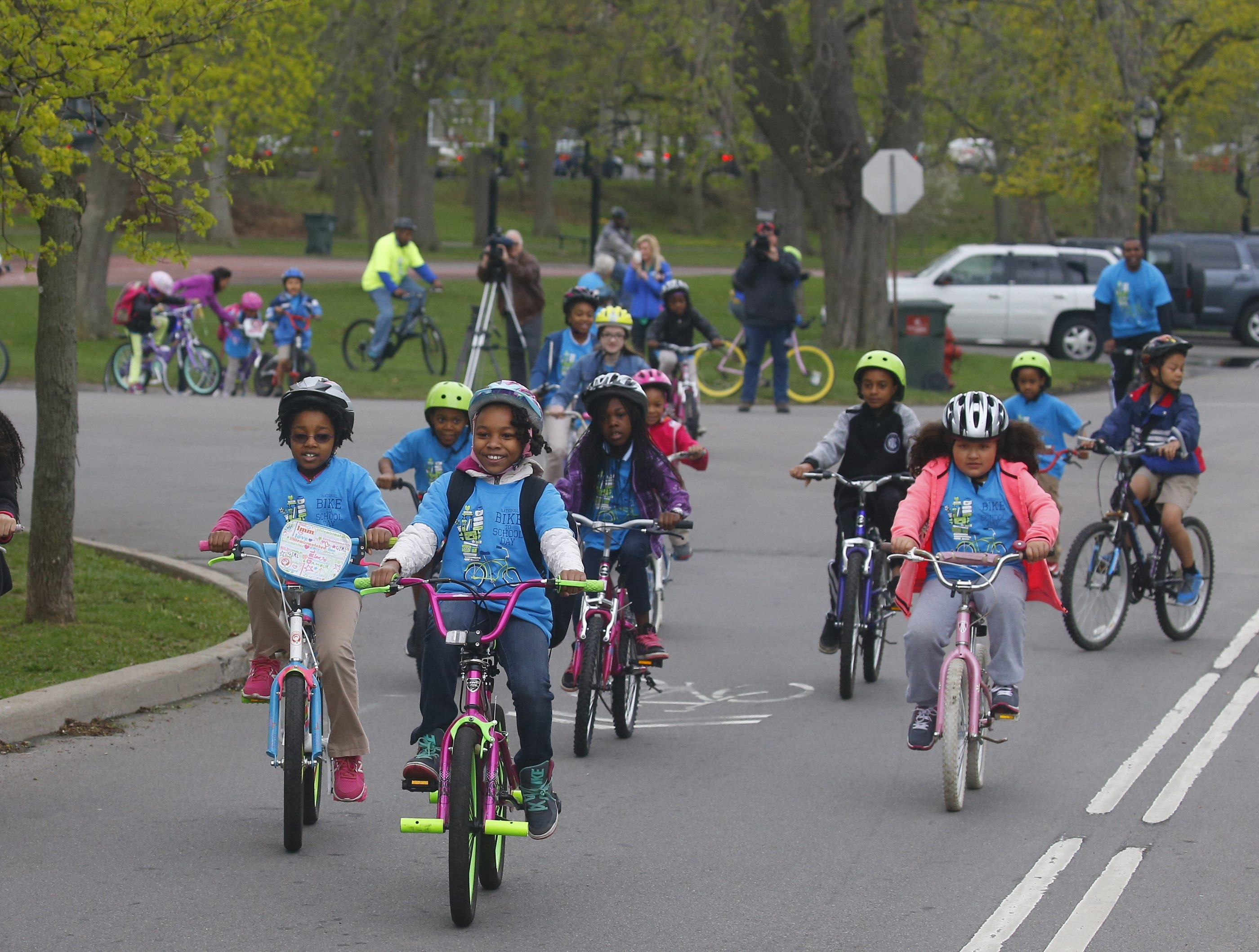 School 54 students met Tuesday at the Jewett Parkway entrance to Delaware Park, marking Bike to School Day, an initiative of the Buffalo Public Schools and GOBike Buffalo.