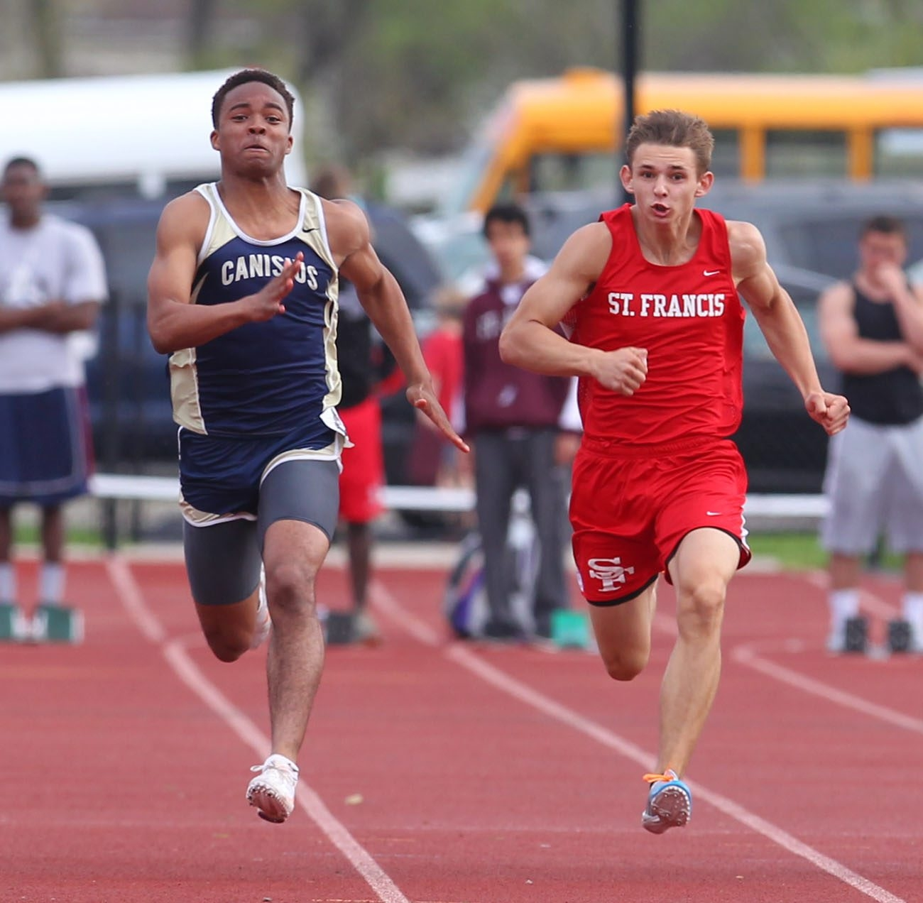 Canisius' Desmond Nicholas, left, owns Western New York's fastest time in the 100-yard dash, 11.04 seconds.  Mark Mulville/Buffalo News file photo