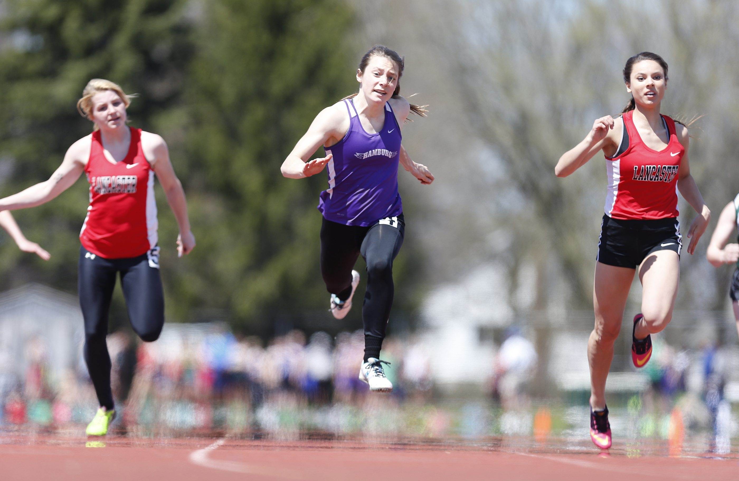Hamburg's Amy Villarini took the 100-meter dash Saturday at the Pioneer Invitational, one of four wins for her. She has school records in the 200 and 400.