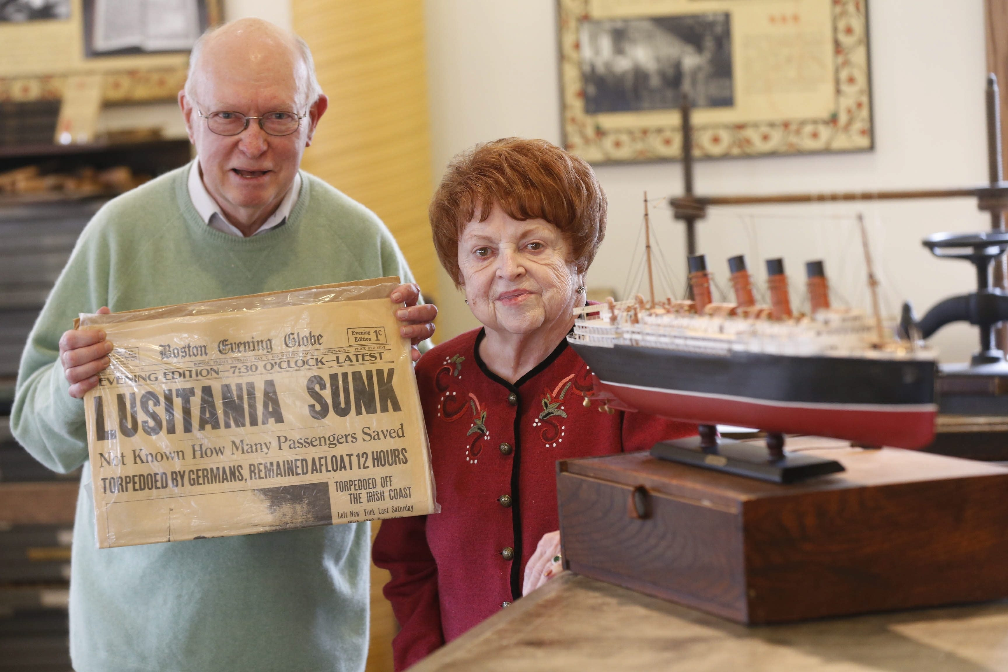 Meryl Trefzer, left, and his wife Patricia, are shown with some of the RMS Lusitania items they donated to the Roycroft Visitors Center inside the Power Station on April 17, 2015.