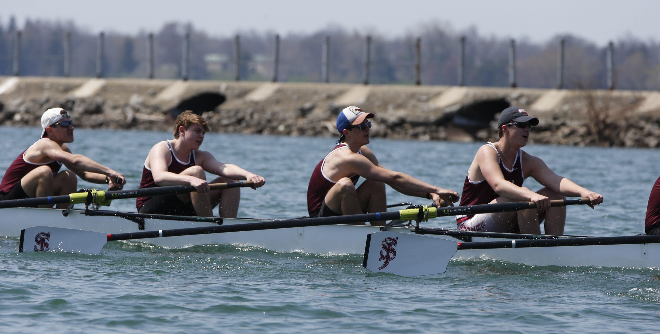 A portion of St. Joe's eight-man crew looks for extra speed during trials at the John Bennett Regatta.