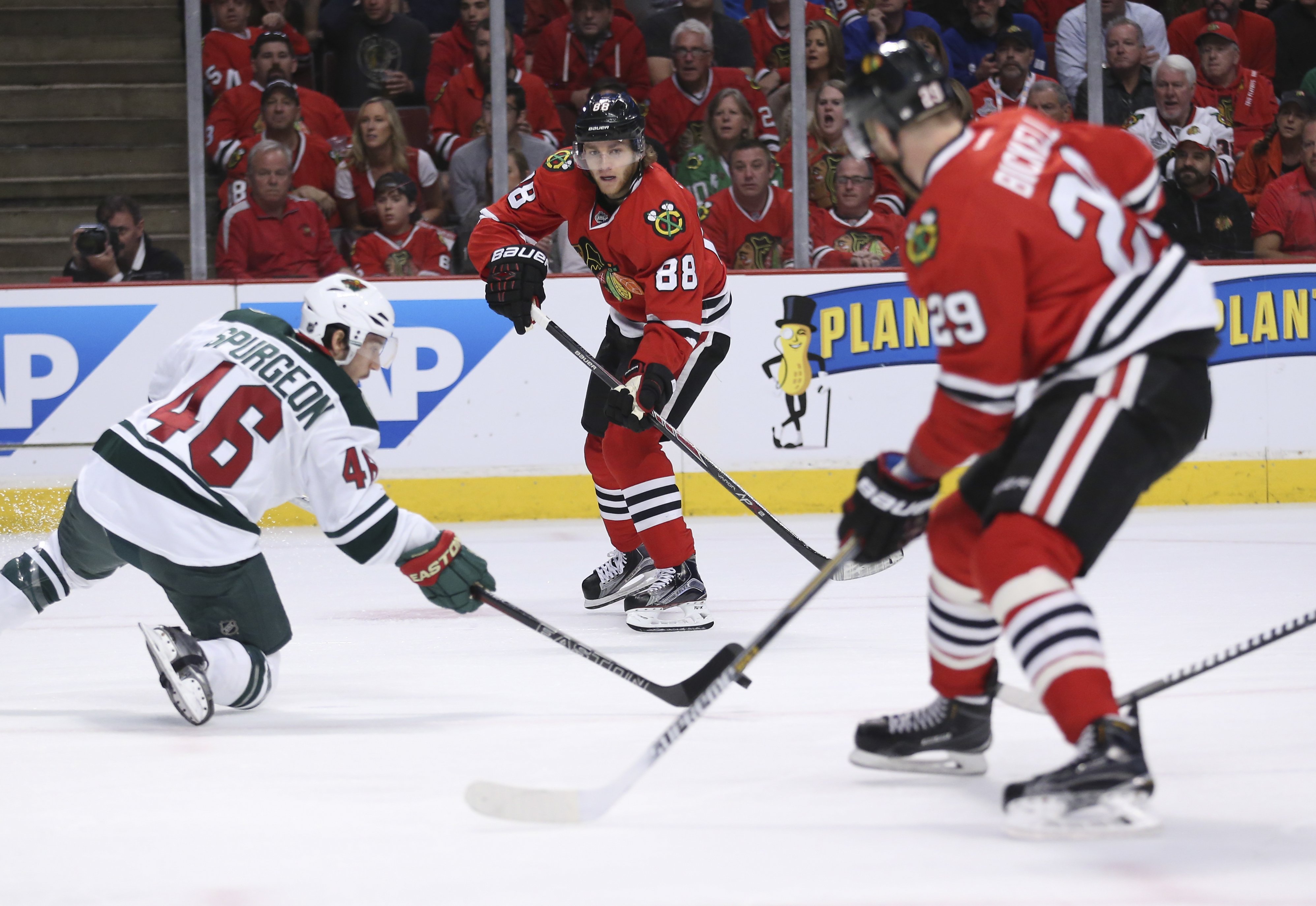 Wild defenseman Jared Spurgeon (46) gets his stick on a pass from Blackhawks right wing Patrick Kane (88) during the second round. Chicago advanced to the conference final by winning that series.