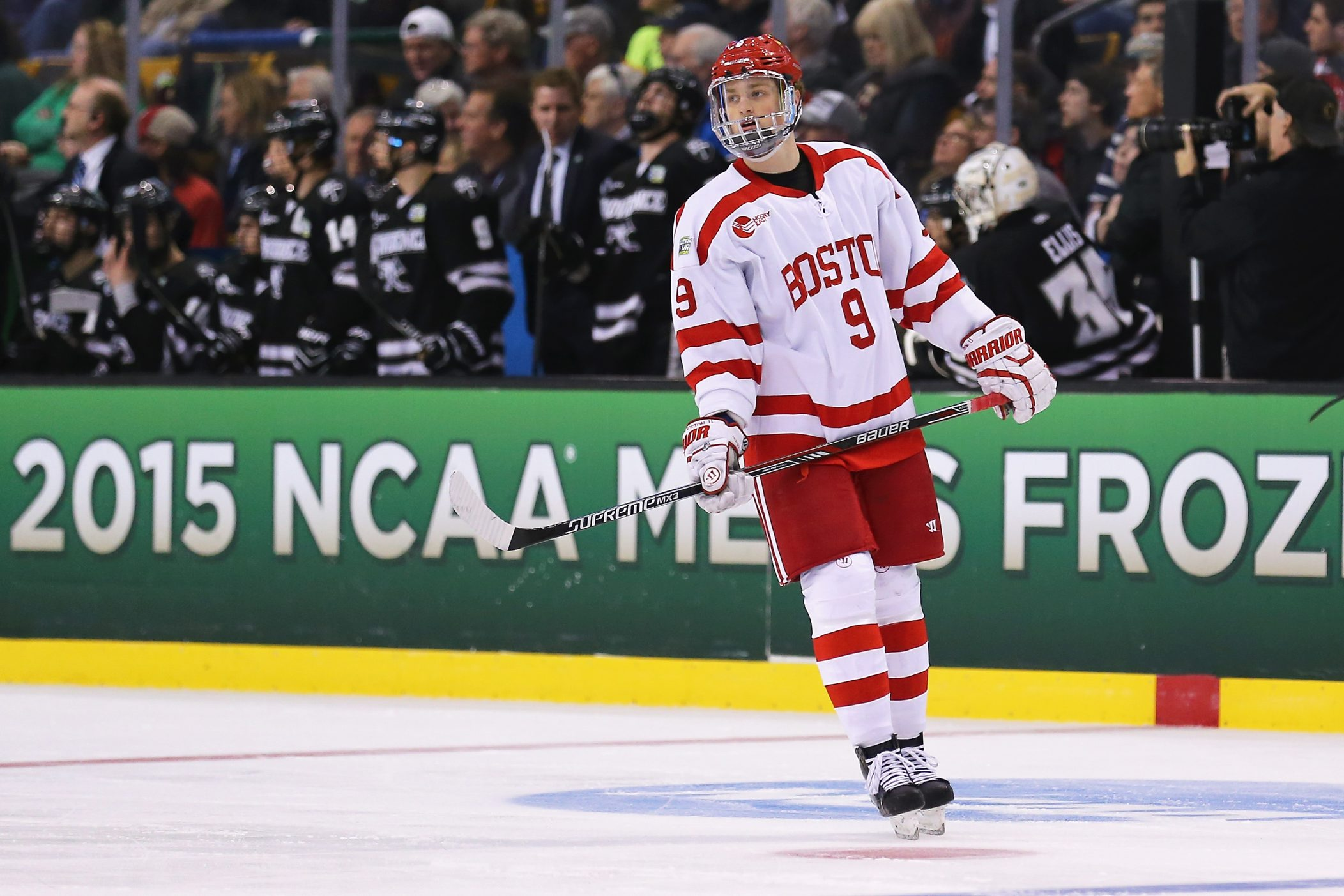 Jack Eichel of the Boston University Terriers skates against the Providence Friars during the 2015 NCAA Division I Men's Hockey Championships at TD Garden on April 11 in Boston, Mass.  (Getty Images)