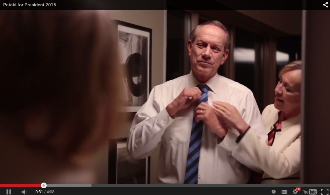A screen grab from the campaign video announcing George Pataki's run for president.