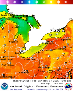 Temperatures are expected to peak in the 80s Sunday. (National Weather Service)