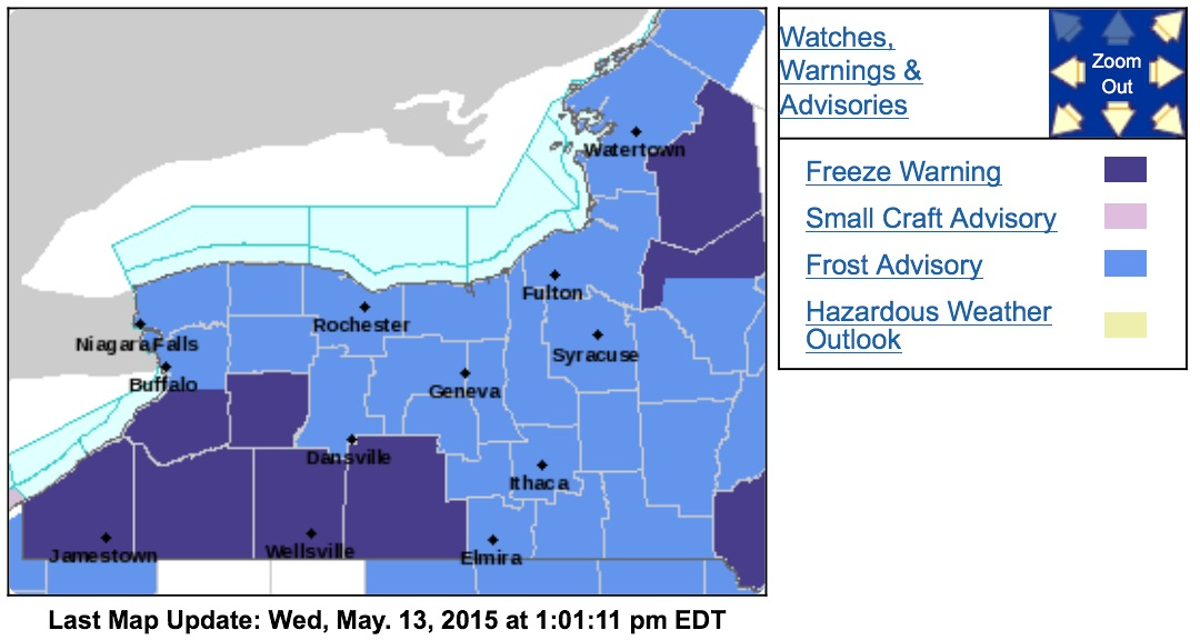 Southern Erie, Wyoming and the Southern Tier counties are under a freeze warning from midnight to 8 a.m. Thursday. (National Weather Service)