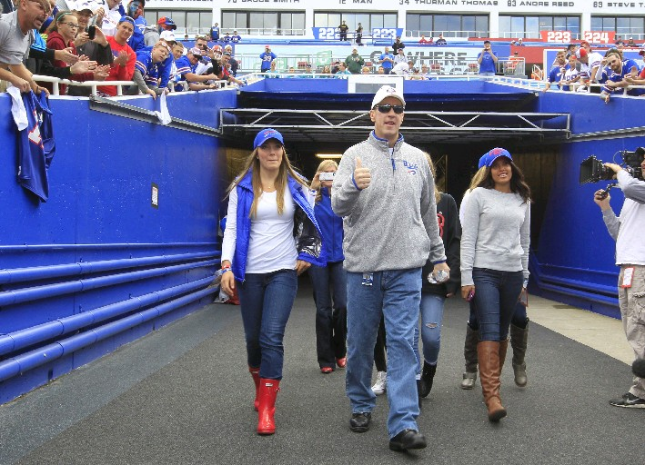Jim Kelly said President Donald Trump stood by his family while he was undergoing cancer treatments. (Buffalo News file photo/Harry Scull Jr.)