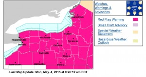 The red flag warning runs from noon to 7 p.m. today, according to the National Weather Service.