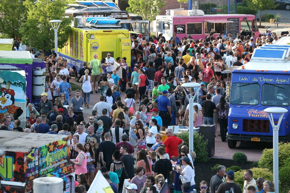Another near 80-degree day in Buffalo brought flocks of people out for Food Truck Tuesday at Larkinville. (Sharon Cantillon/Buffalo News)