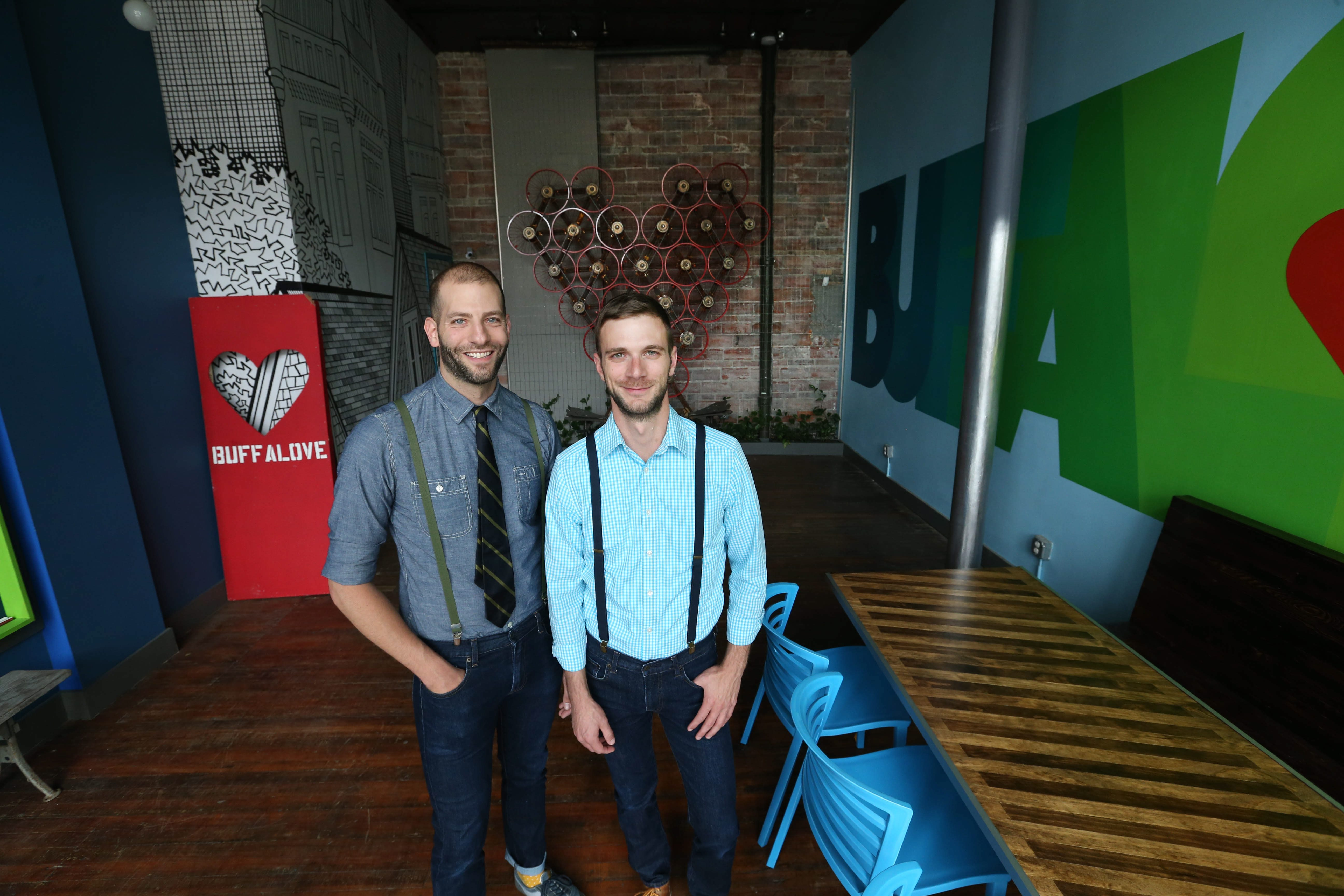 After nearly a year of planning, building and brainstorming, Casey Milbrand, left, and Jason Lloyd Clement are opening a community-based storefront at 218 Grant St. on Thursday.