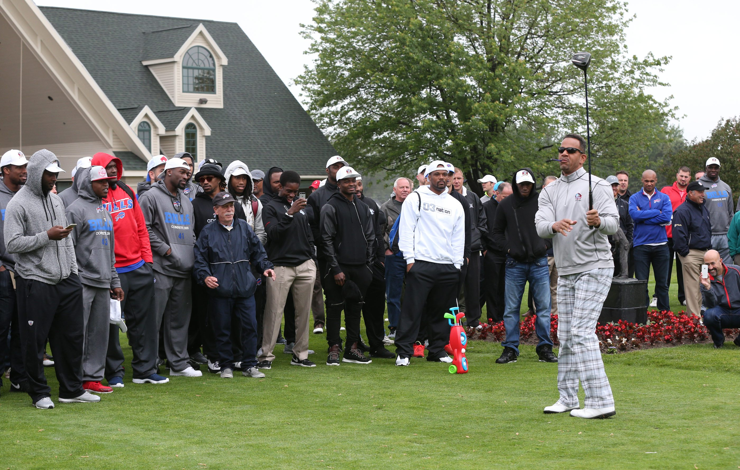 Andre Reed hits a shot off the tee at Jim Kelly's 29th Celebrity Classic golf tournament at Terry Hills Golf Course in Batavia,NY on Monday, June 1, 2015.  (James P. McCoy/ Buffalo News)