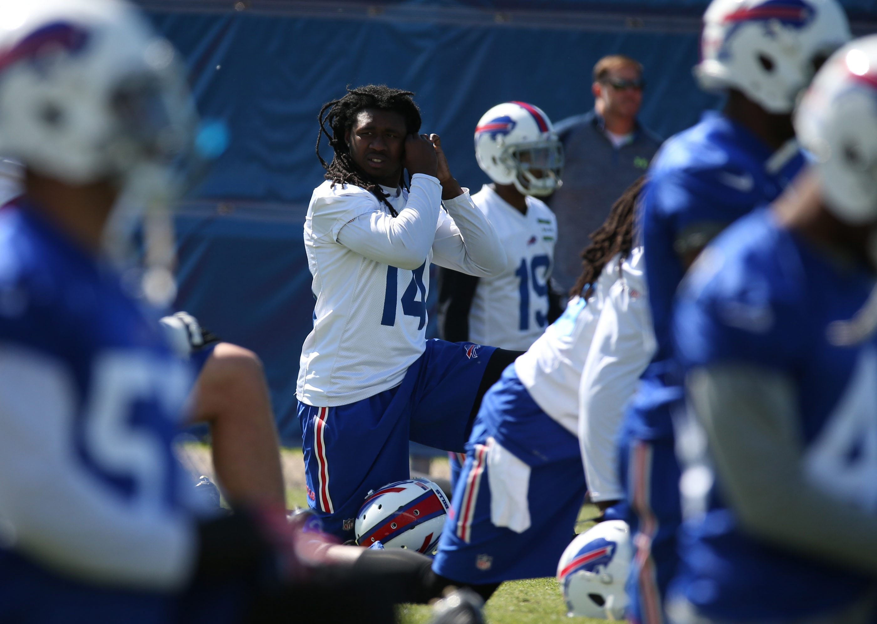 """Sammy Watkins warms up before practice but his activity at the Bills OTAs as been limited to """"mental reps."""""""