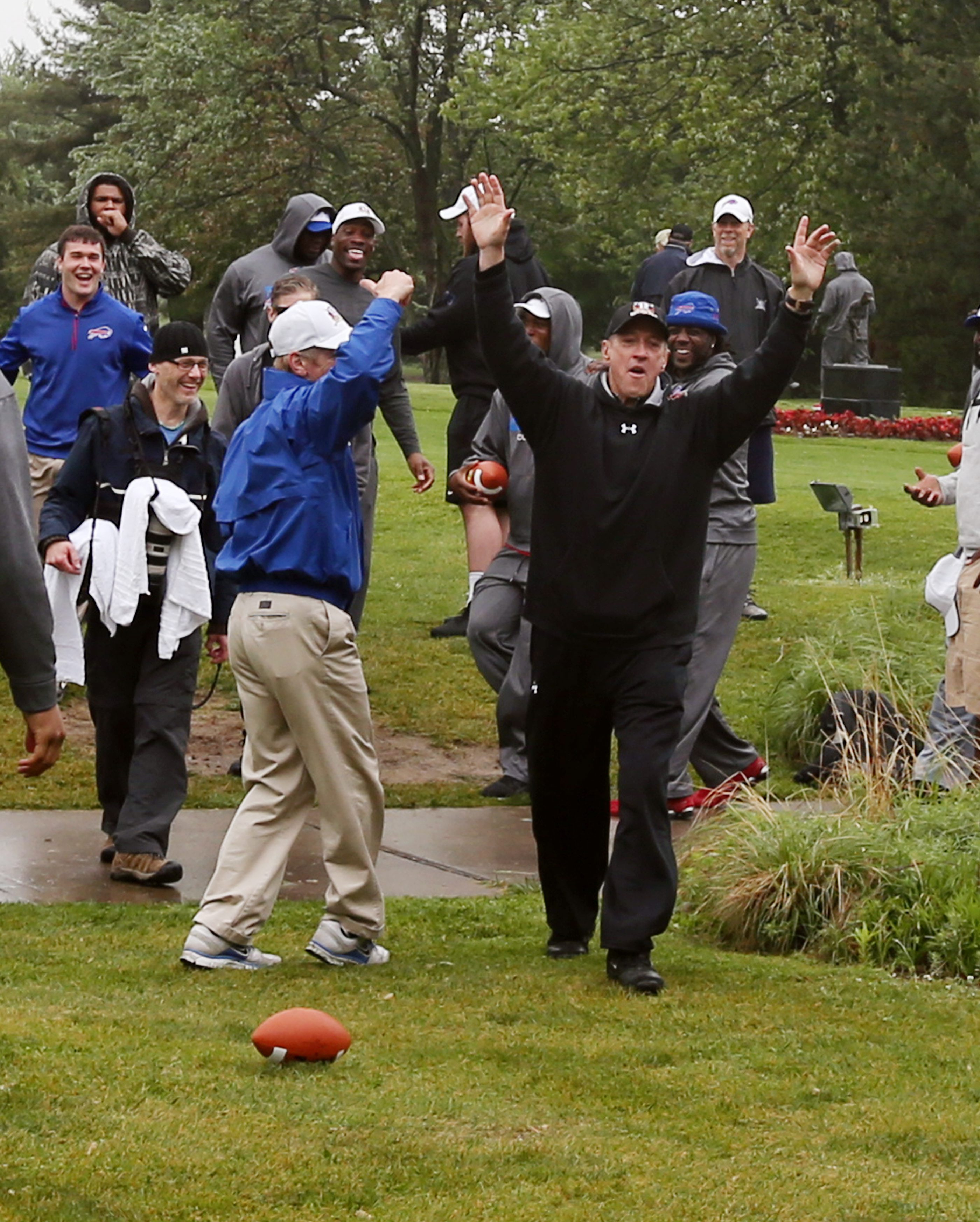 One throw, one score for Jim Kelly as he celebrated life, teammates and football at his own Jim Kelly's 29th Celebrity Classic golf tournament at Terry Hills Golf Course. More photos on Picture Page, C8.