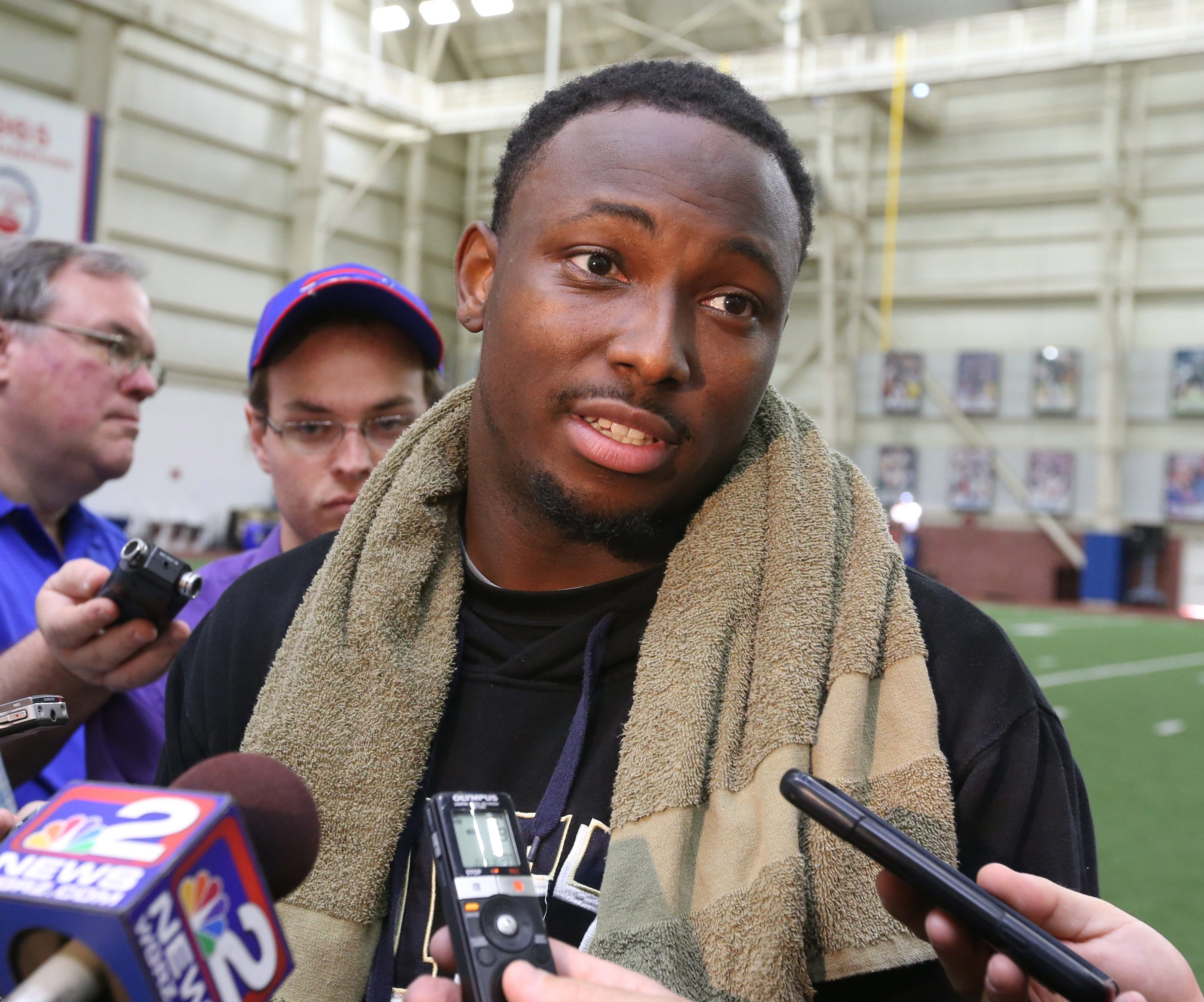 Buffalo Bills running back LeSean Mccoy talked to the press after the Bills OTA's at Ad Pro training center in Orchard Park,NY on Wednesday, June 3, 2015.  (James P. McCoy/ Buffalo News)