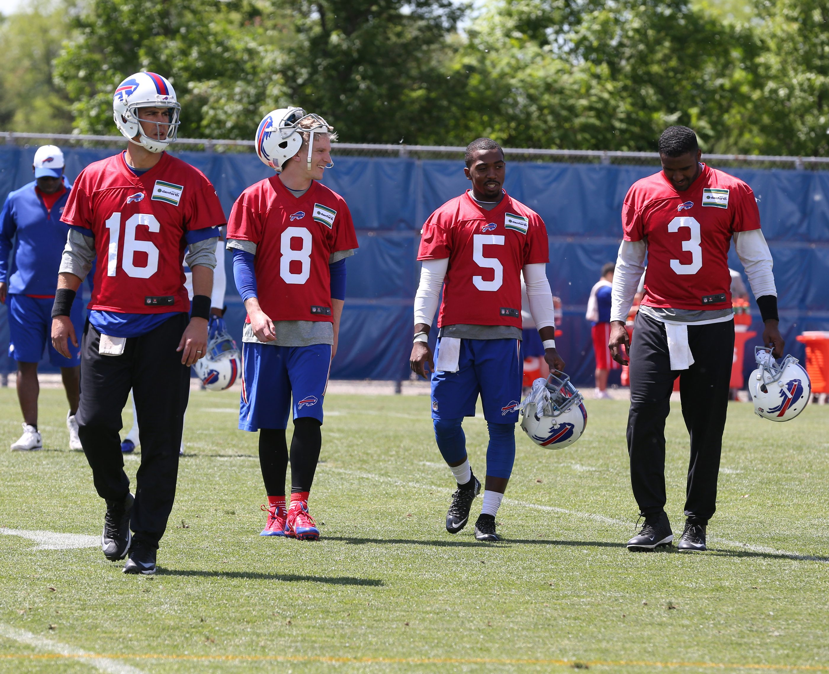 Expect the Buffalo Bills to select a starting quarterback from the training camp quintet of Matt Cassel, Matt Simms, Tyrod Taylor and EJ Manuel instead of bringing in more new arms.
