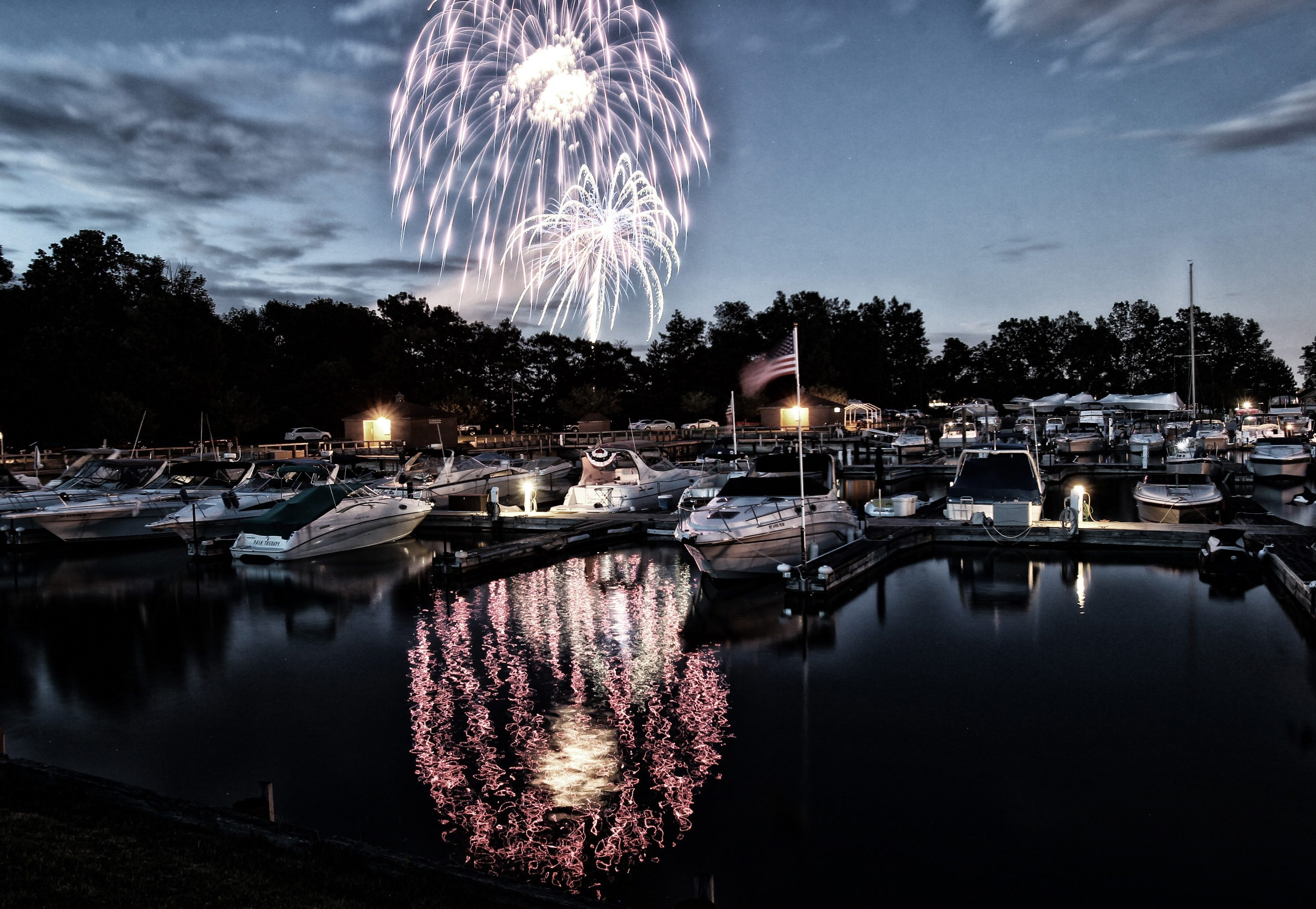 Fourth of July fireworks light of the sky over River Oaks marina on Grand Island. (James P. McCoy/News file photo)