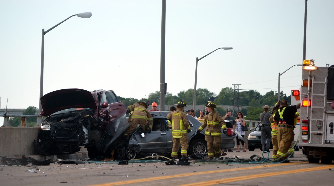 The scene of the accident at Lewiston Road and Power Service Road in Lewiston.